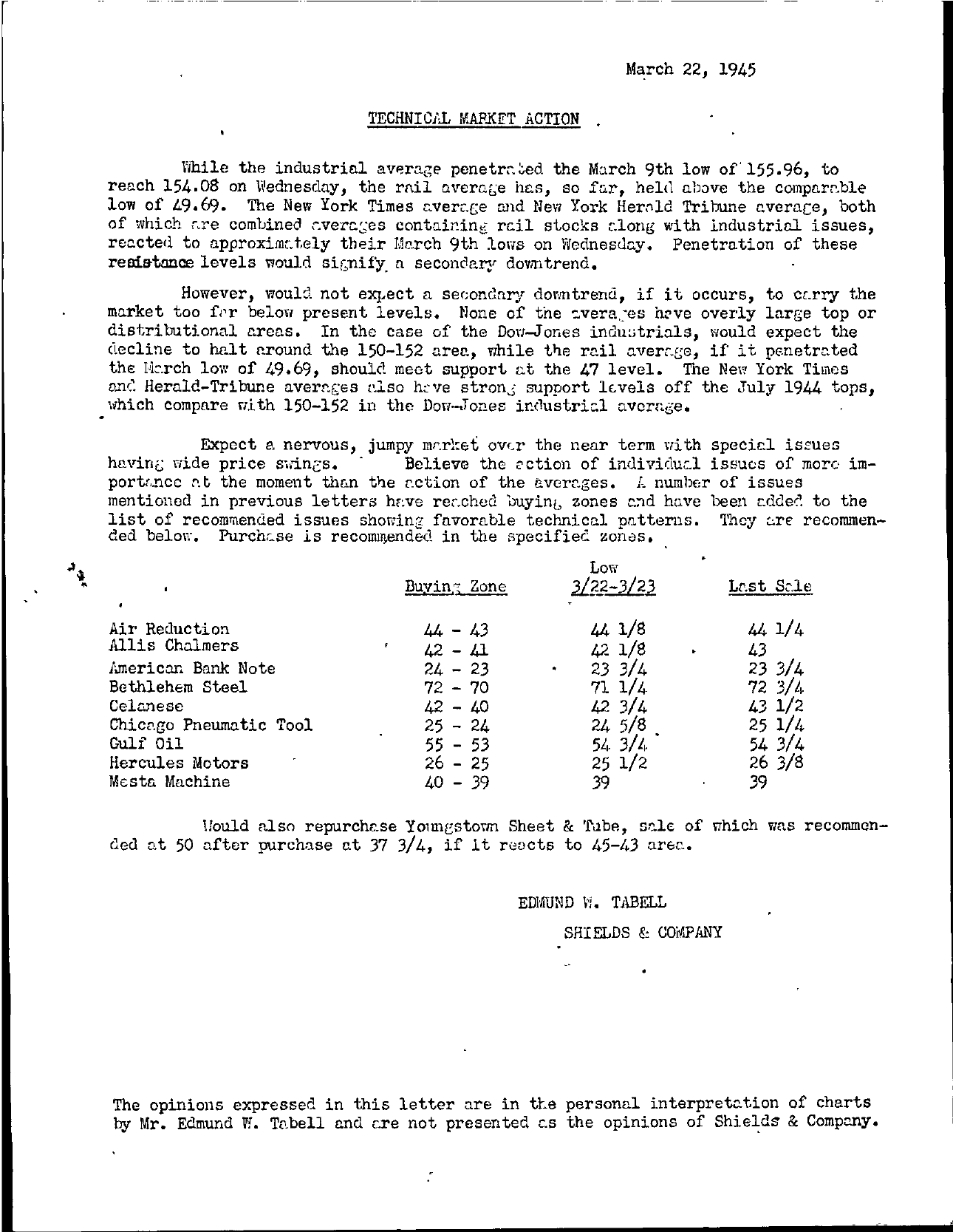 Tabell's Market Letter - March 22, 1945