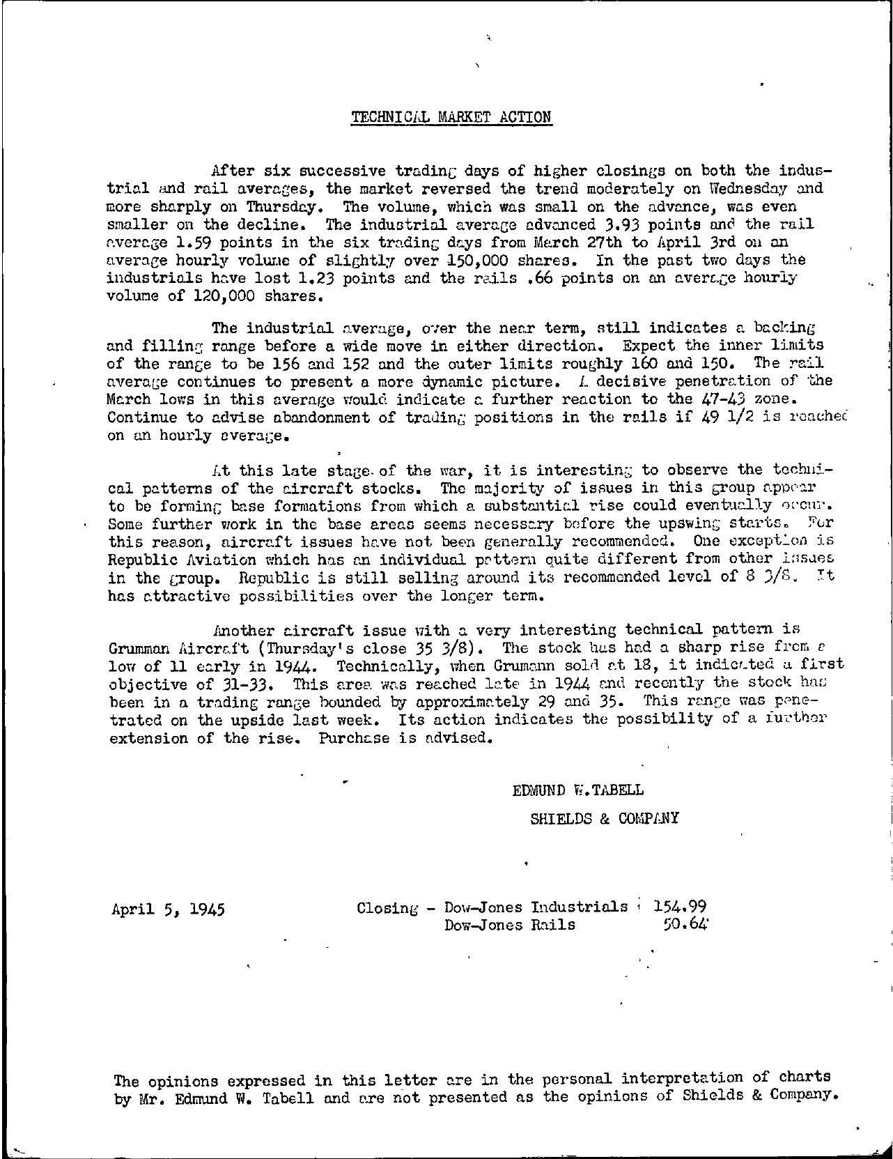 Tabell's Market Letter - April 05, 1945