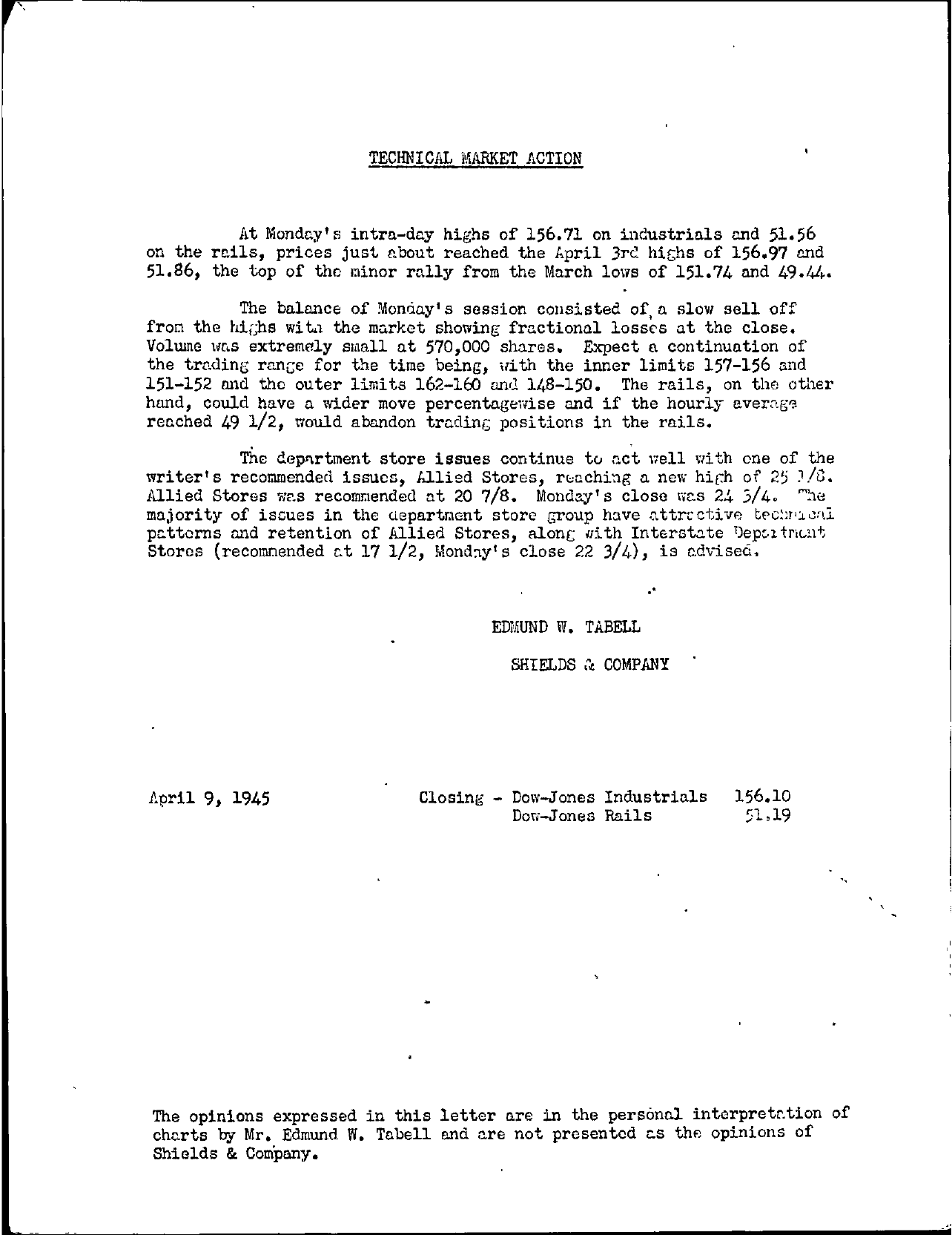 Tabell's Market Letter - April 09, 1945