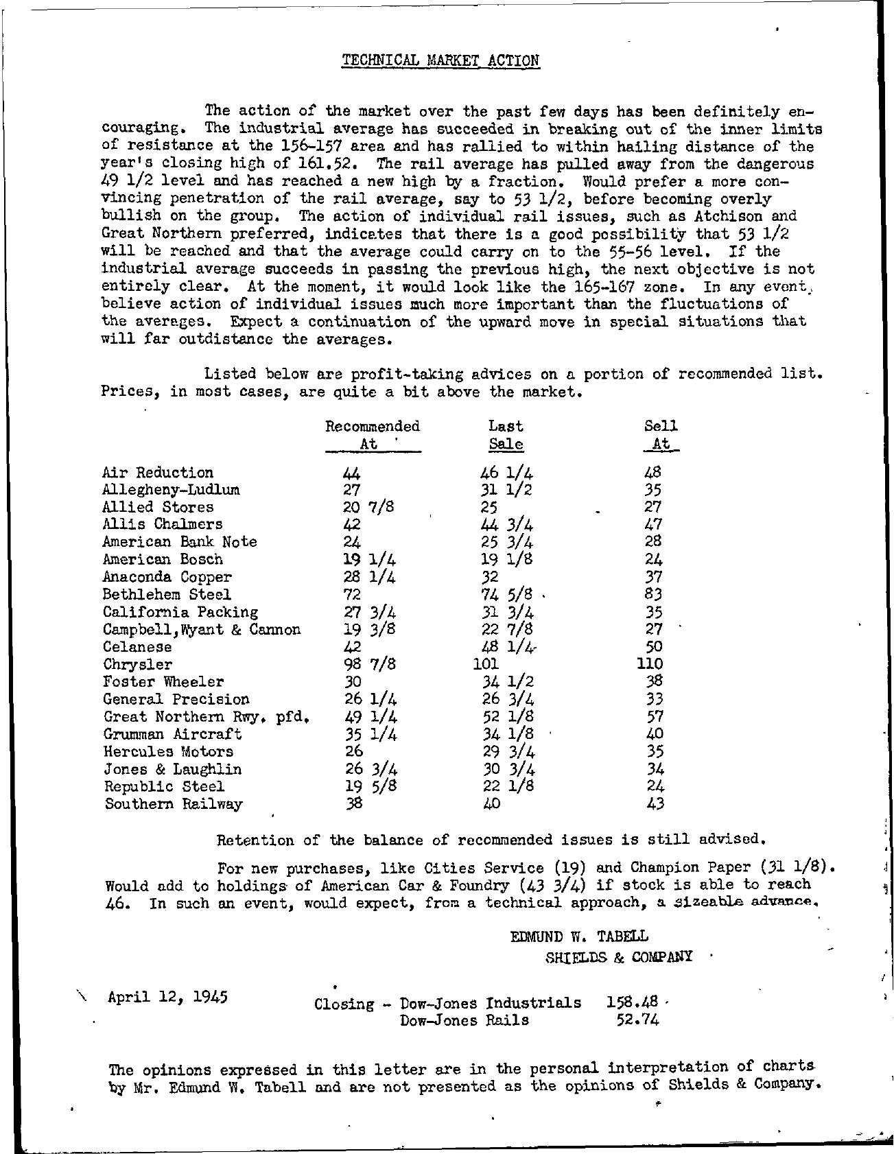 Tabell's Market Letter - April 12, 1945