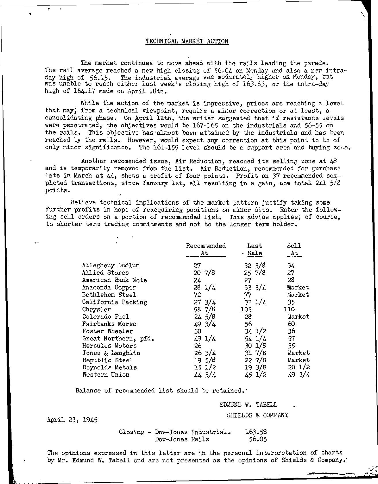 Tabell's Market Letter - April 23, 1945
