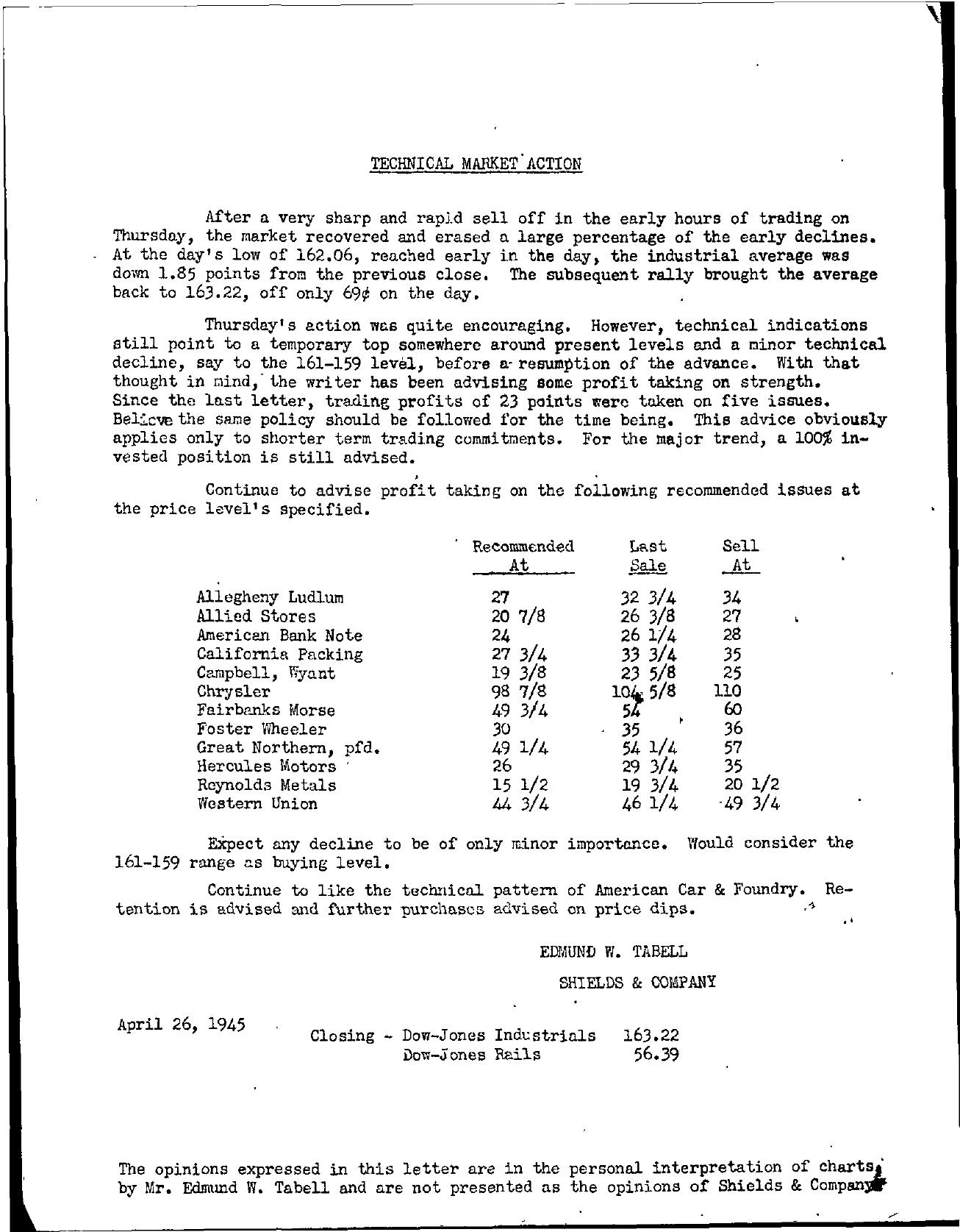 Tabell's Market Letter - April 26, 1945