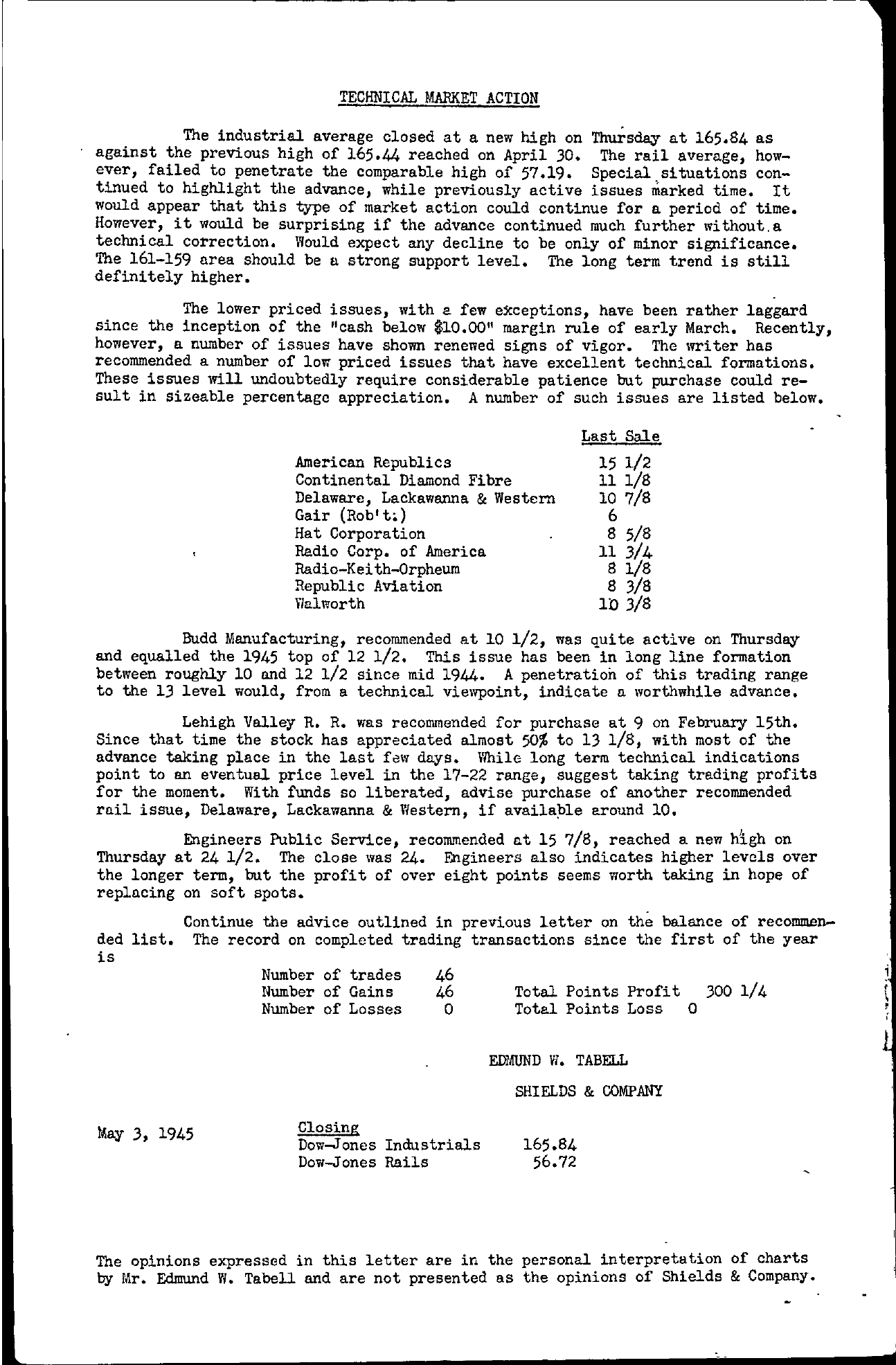 Tabell's Market Letter - May 03, 1945