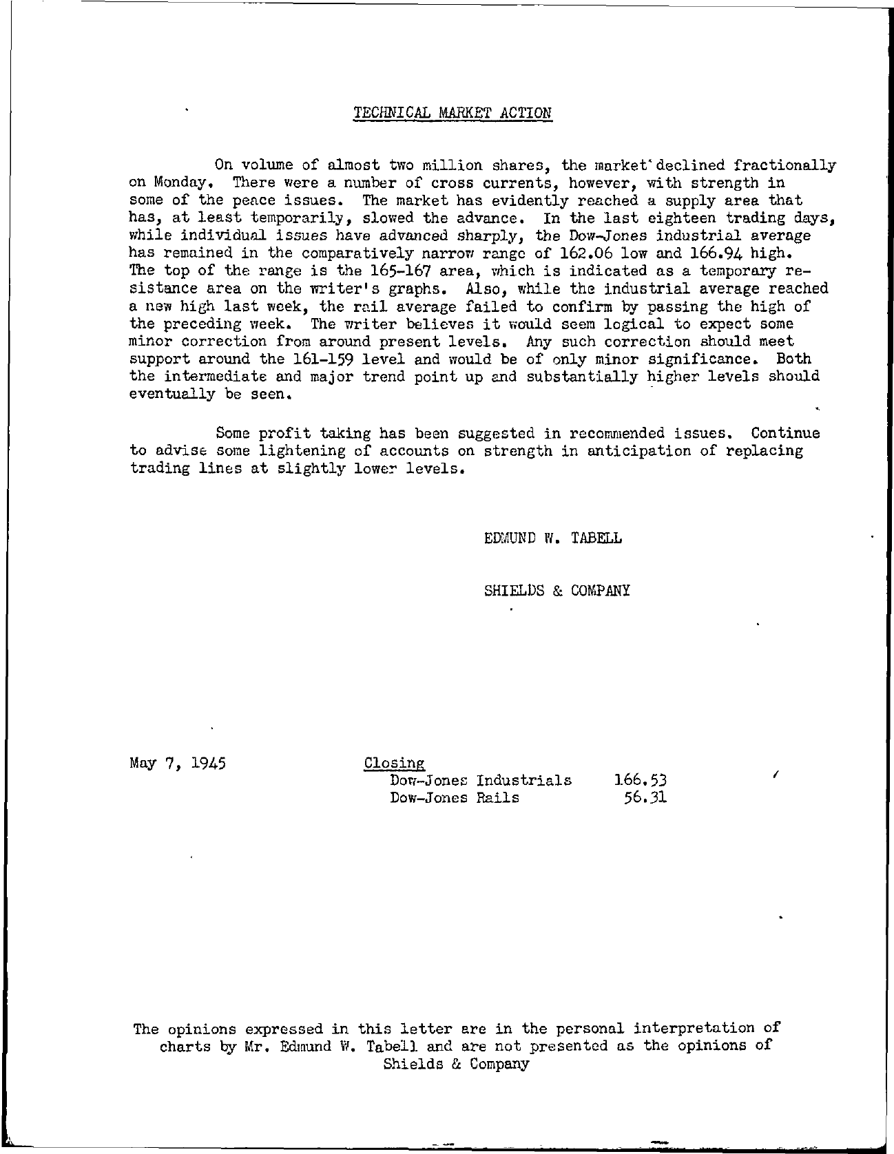 Tabell's Market Letter - May 07, 1945