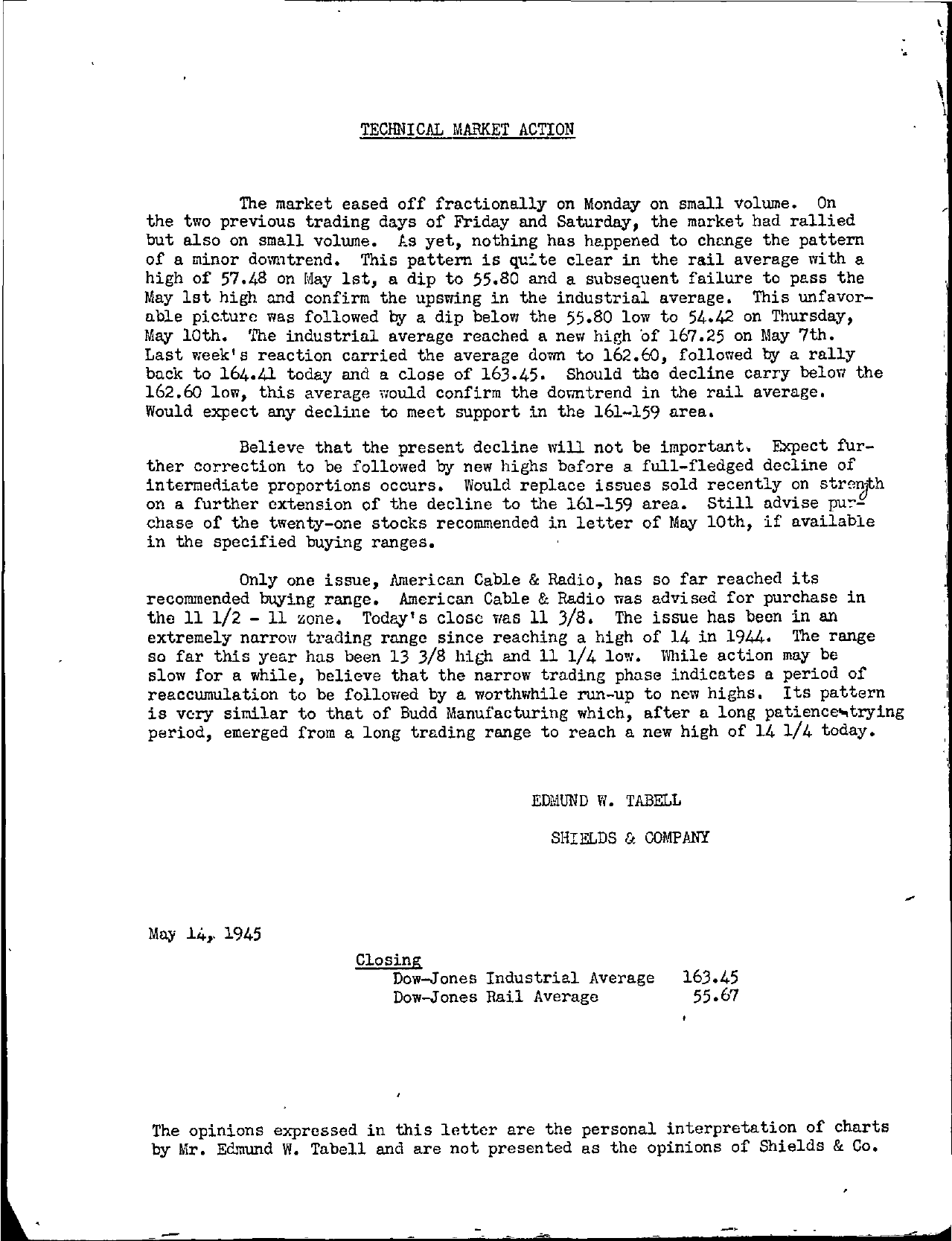 Tabell's Market Letter - May 14, 1945