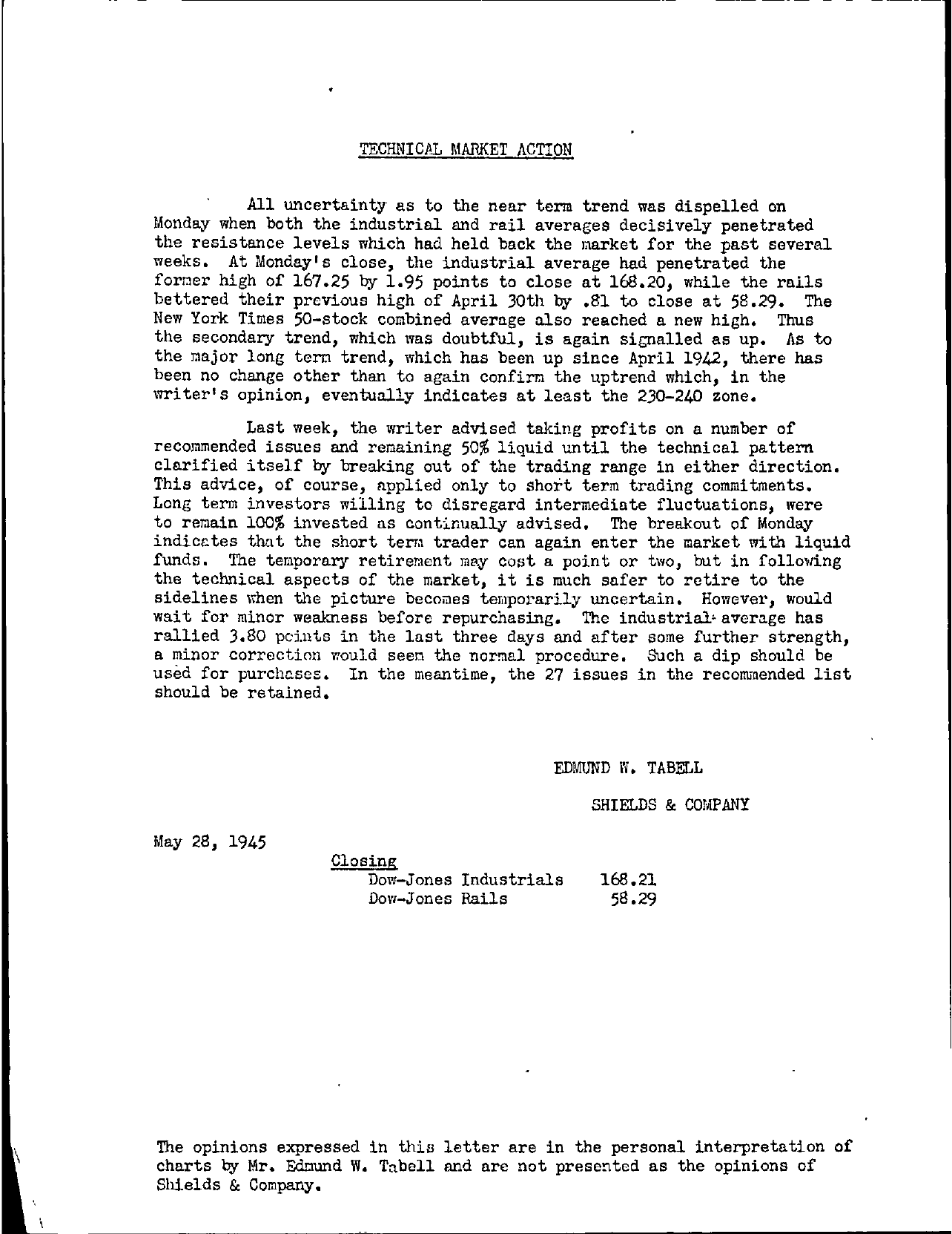 Tabell's Market Letter - May 28, 1945