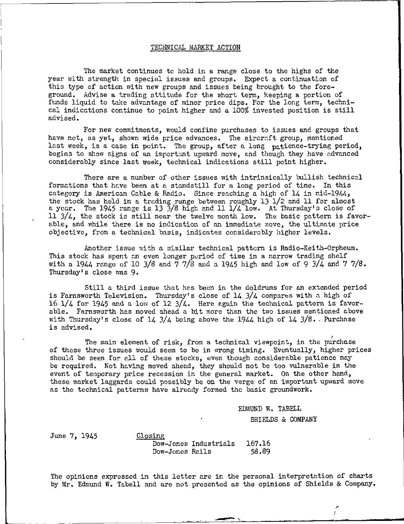 Tabell's Market Letter - June 07, 1945