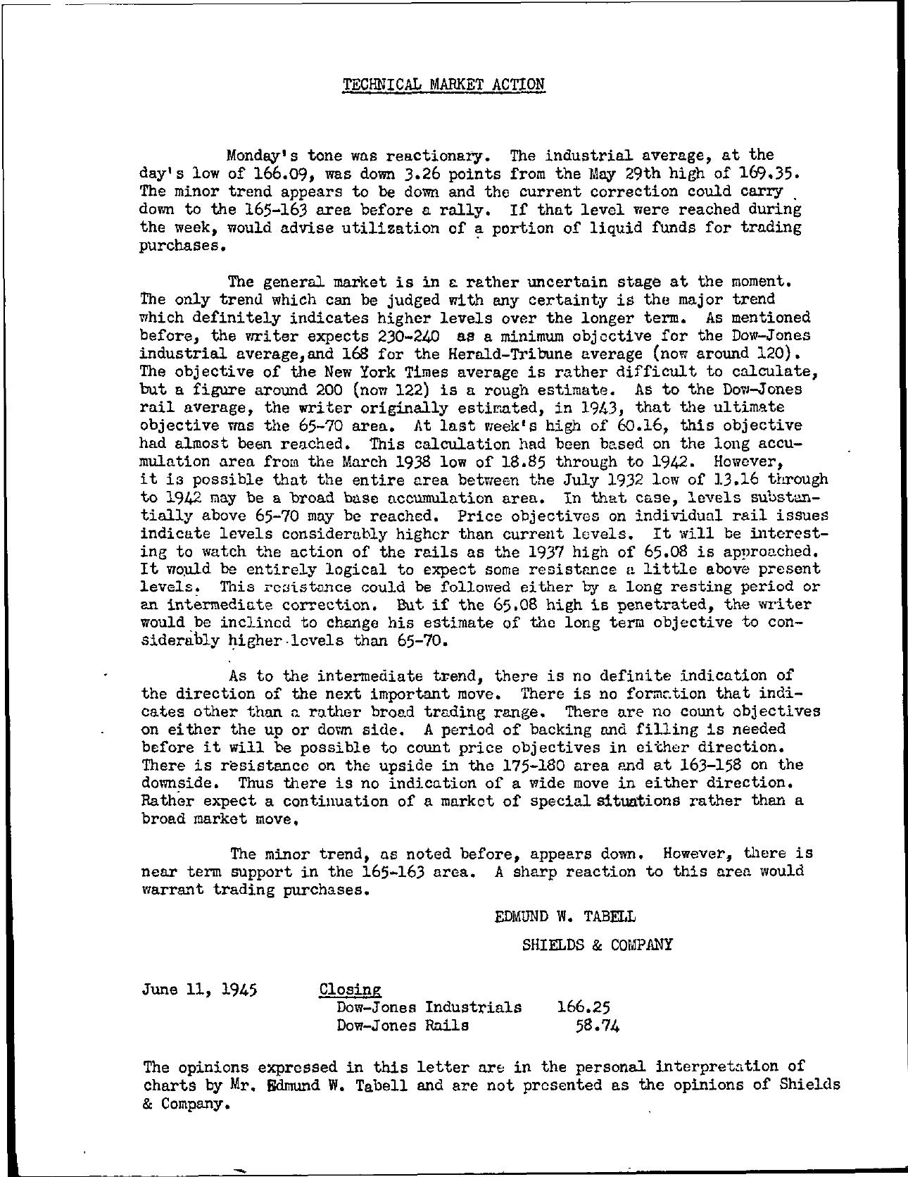 Tabell's Market Letter - June 11, 1945