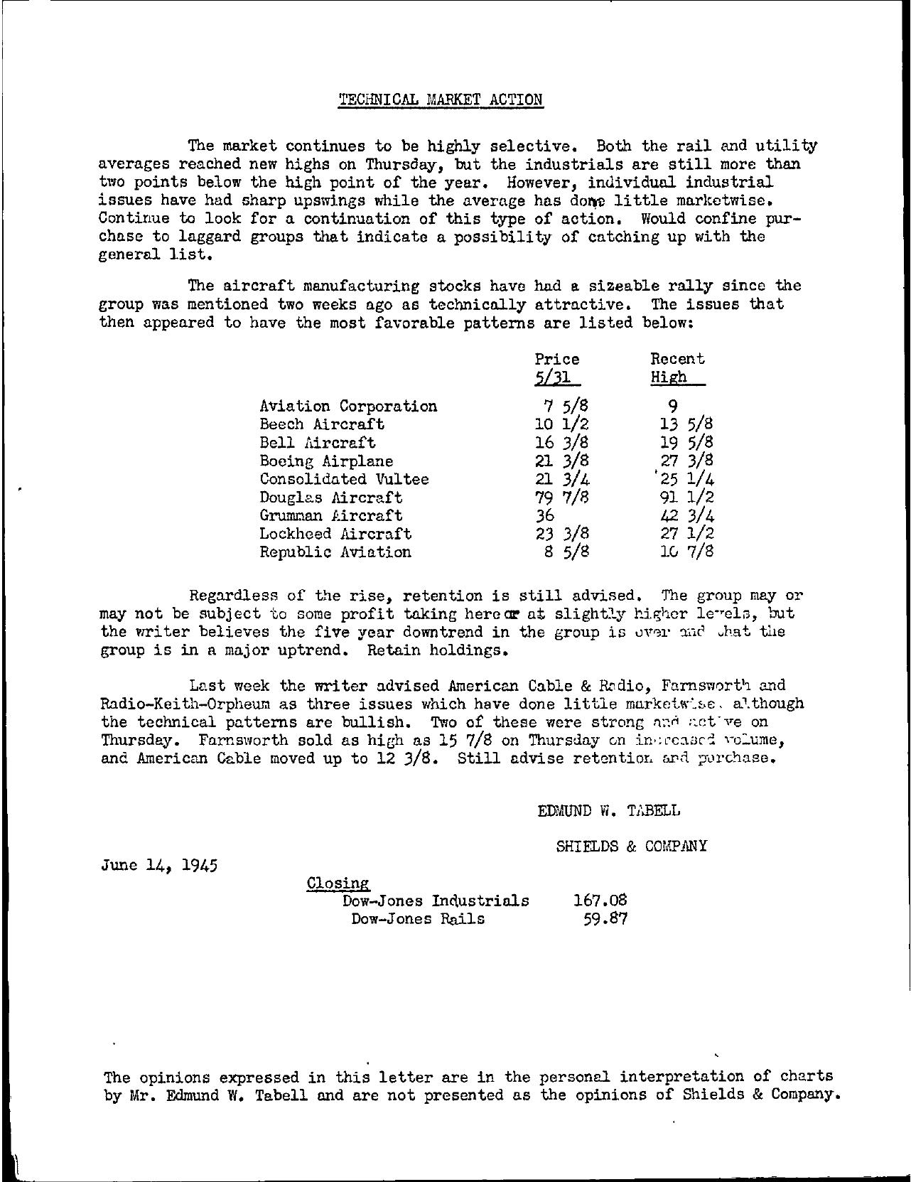 Tabell's Market Letter - June 14, 1945