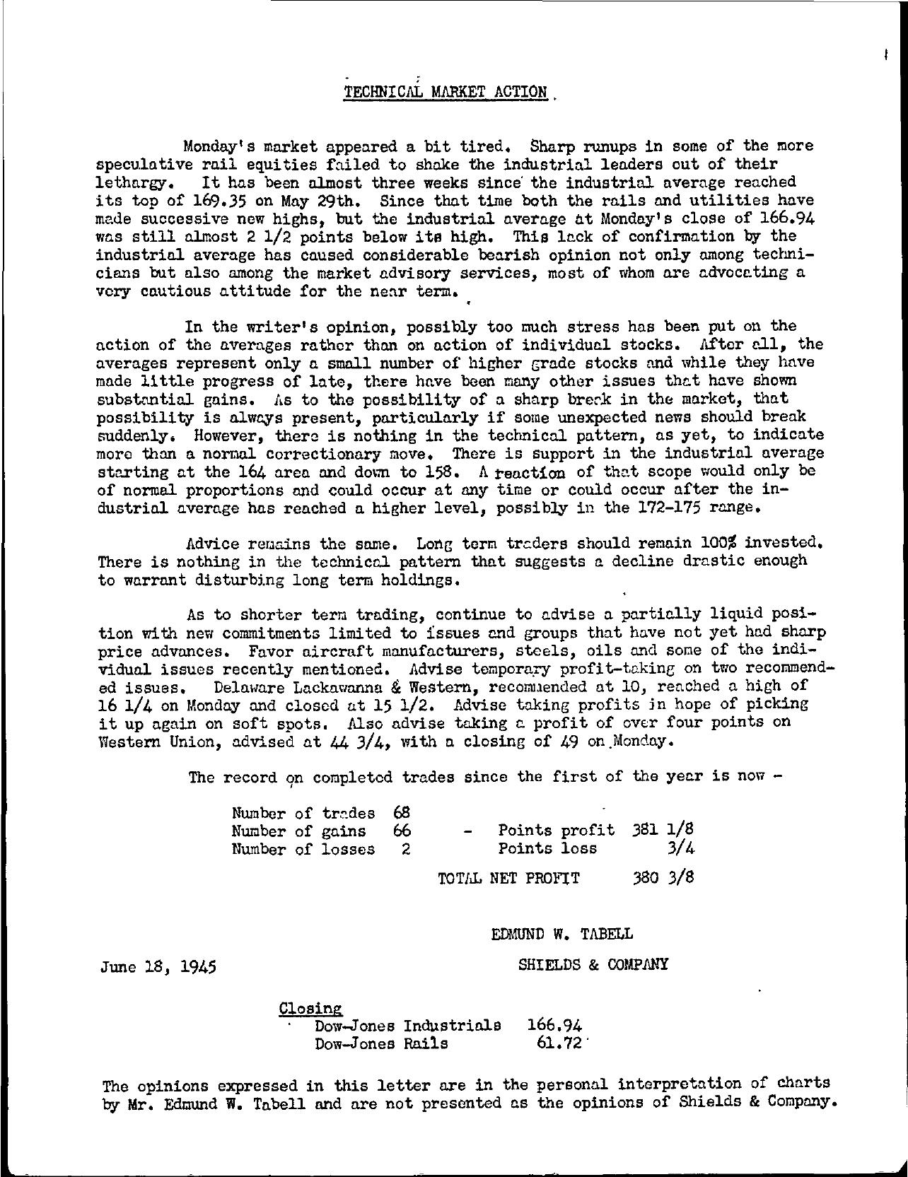 Tabell's Market Letter - June 18, 1945