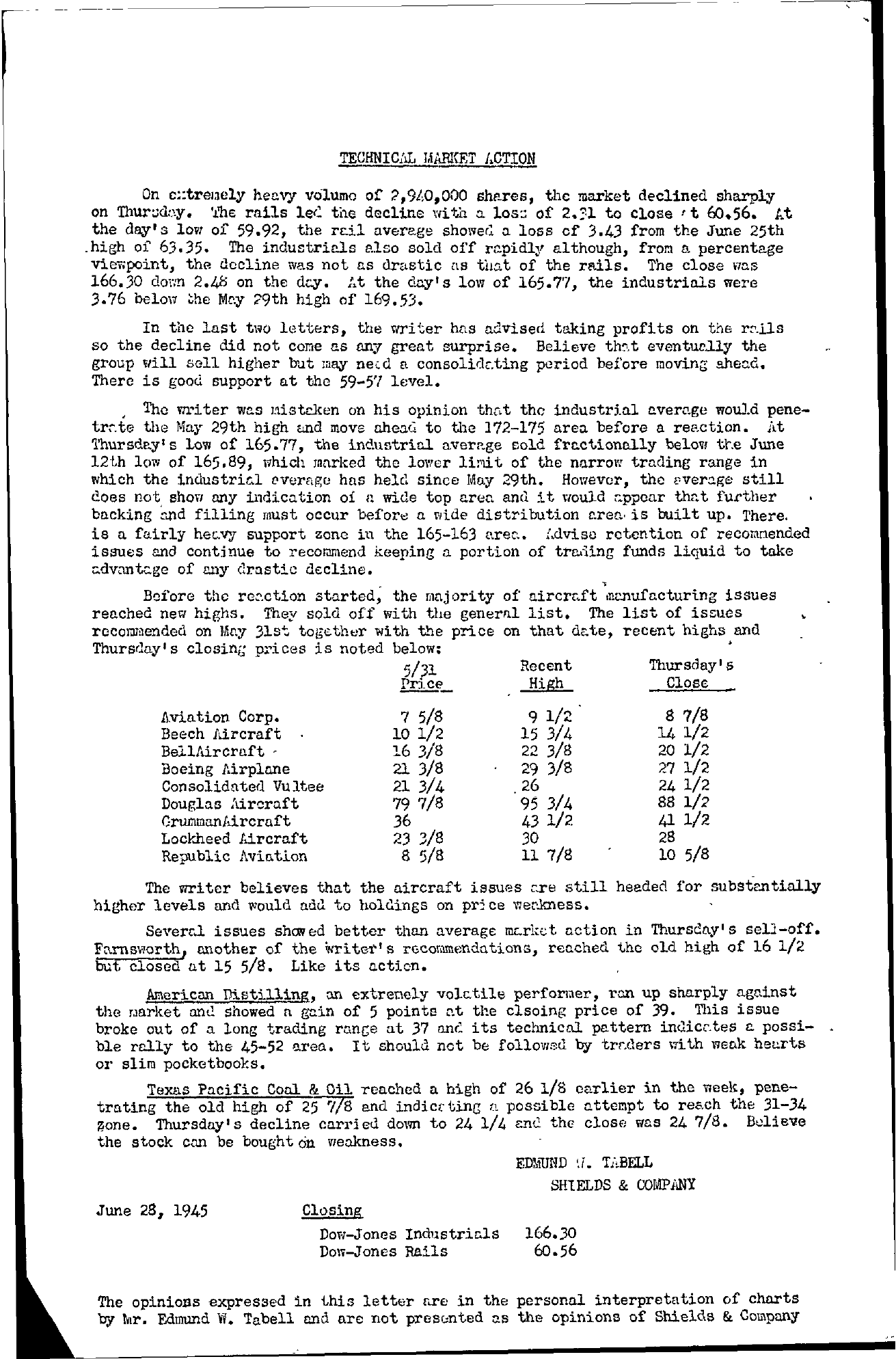 Tabell's Market Letter - June 28, 1945