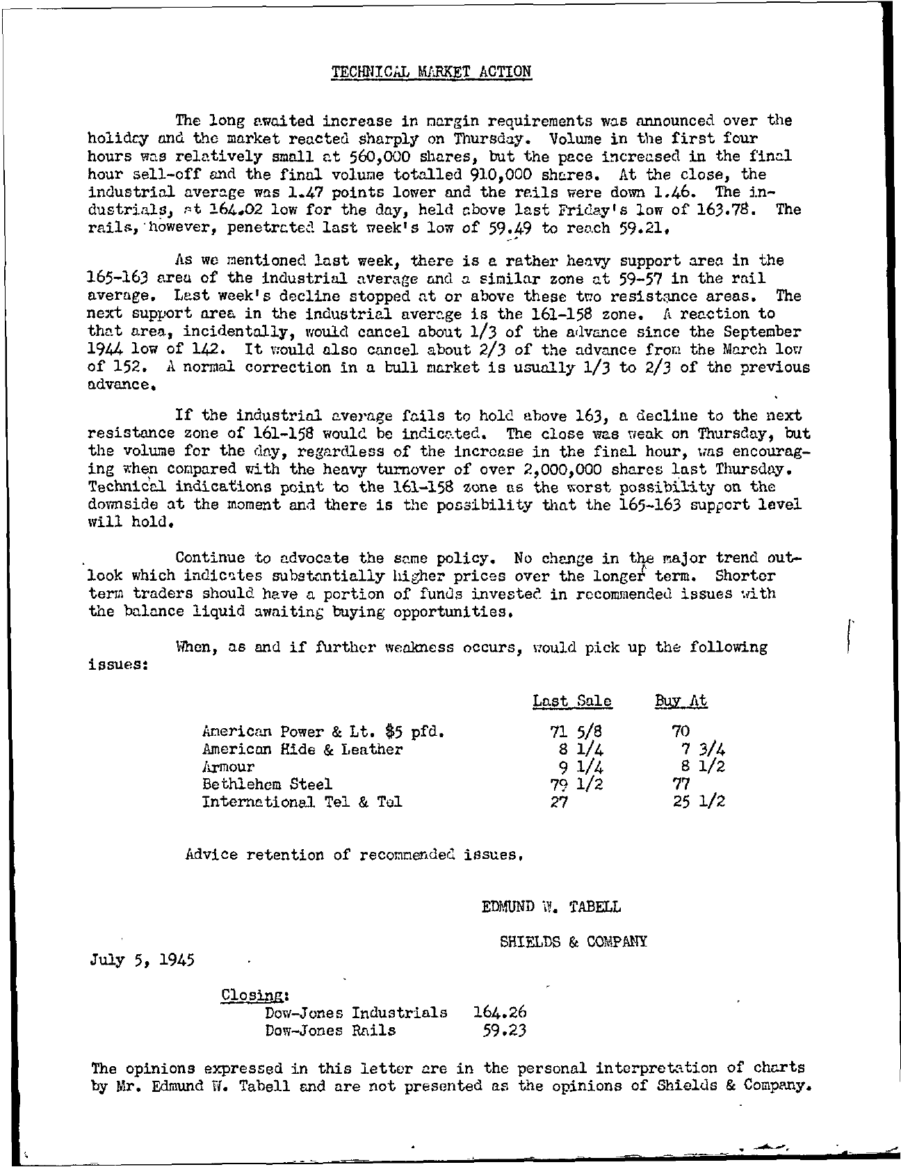 Tabell's Market Letter - July 05, 1945