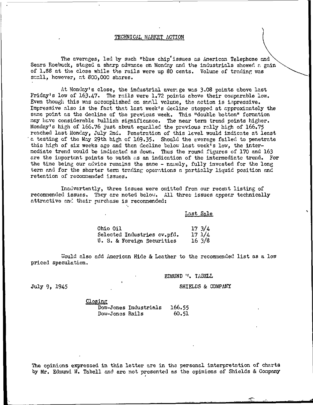 Tabell's Market Letter - July 09, 1945