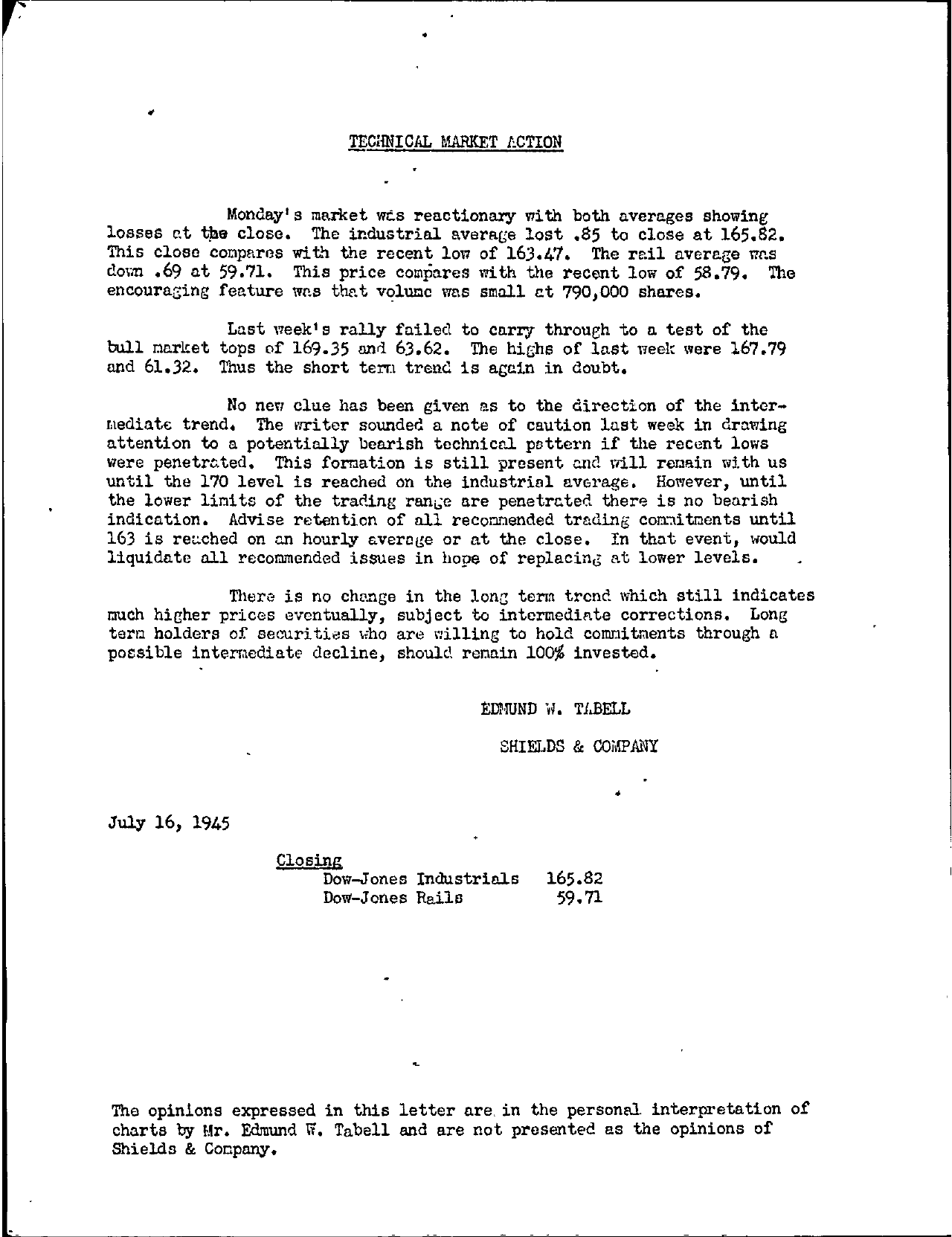 Tabell's Market Letter - July 16, 1945