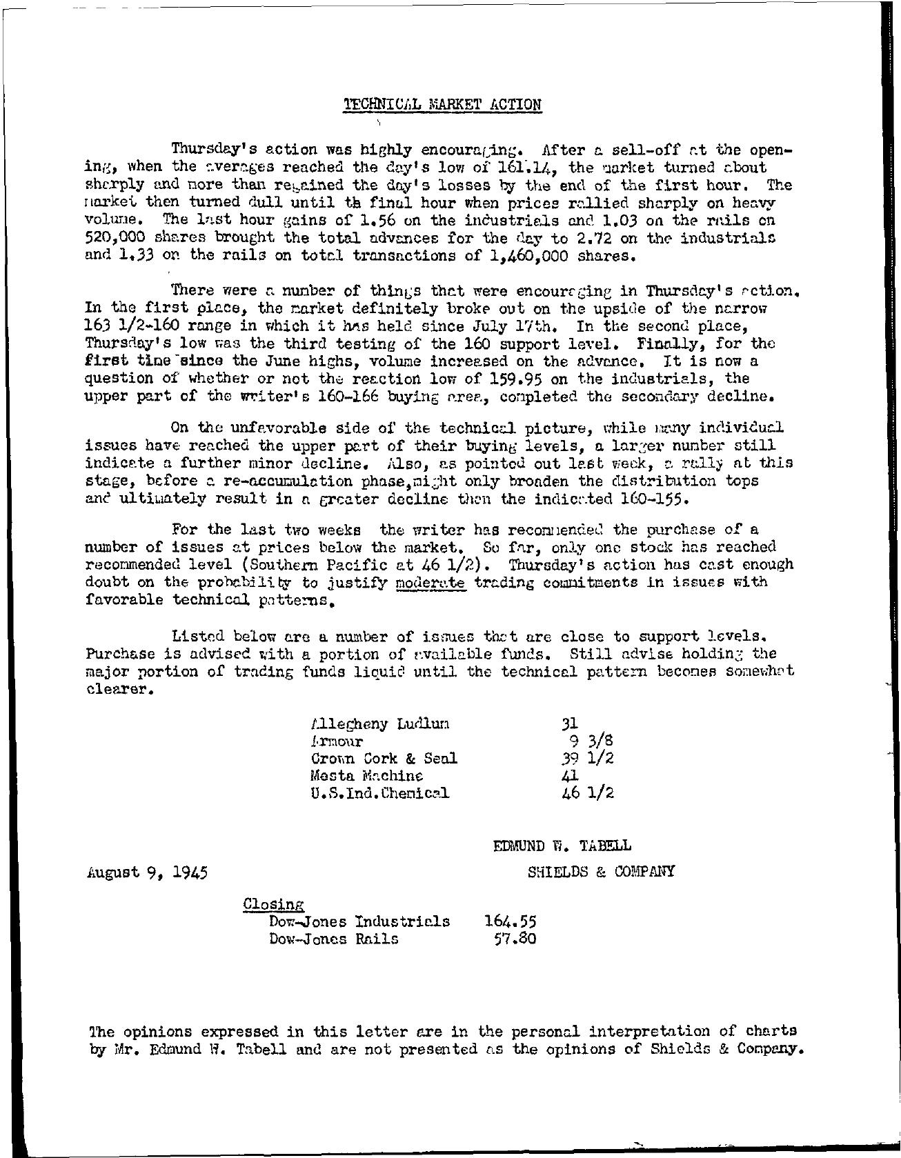 Tabell's Market Letter - August 09, 1945