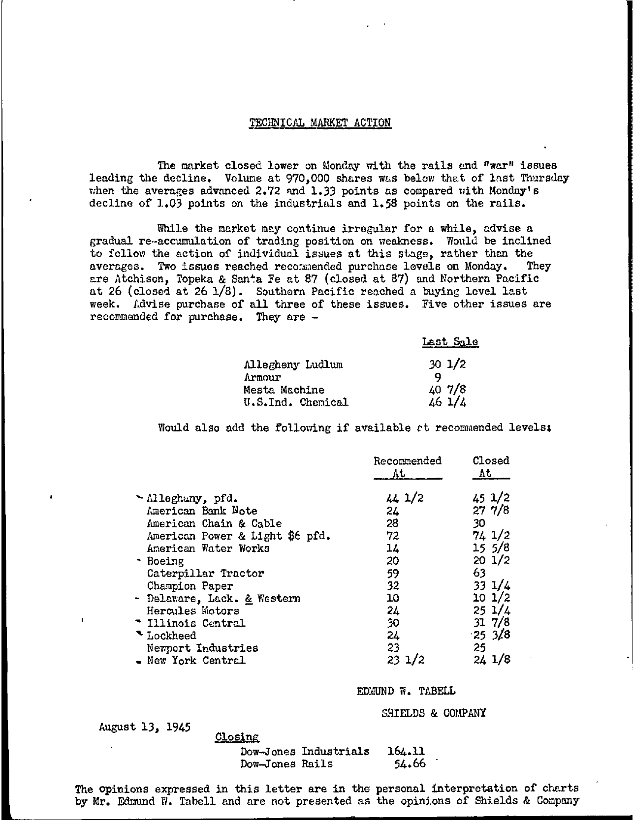 Tabell's Market Letter - August 13, 1945