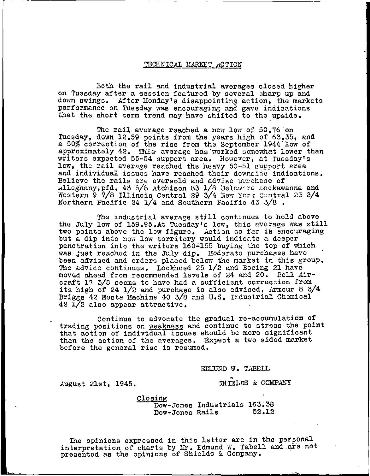 Tabell's Market Letter - August 21, 1945