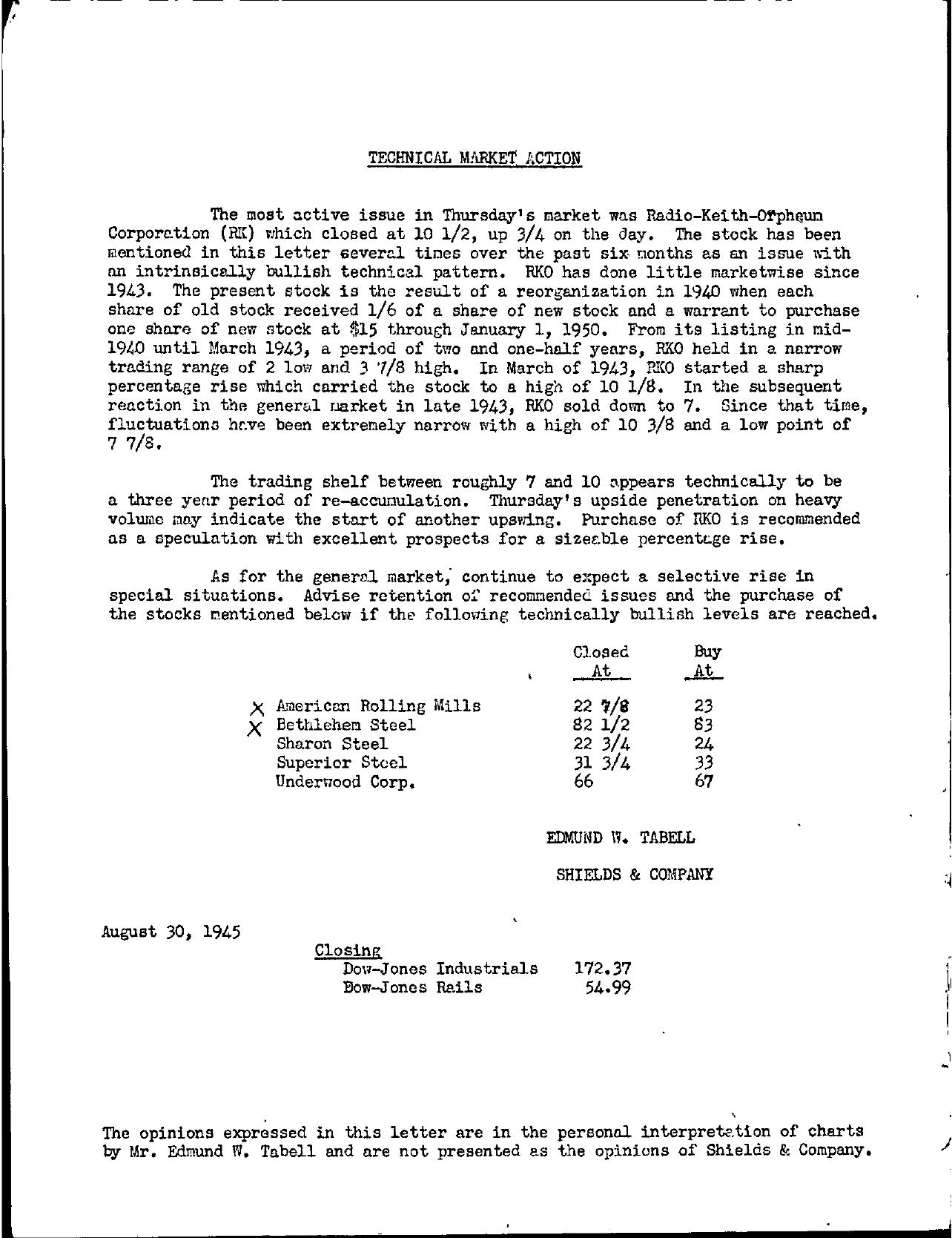Tabell's Market Letter - August 30, 1945