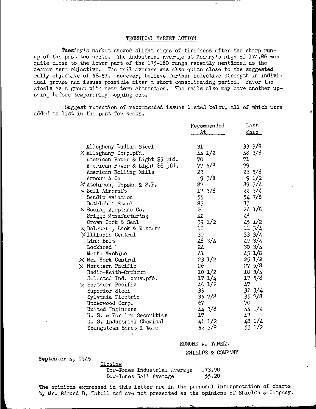 Tabell's Market Letter - September 04, 1945