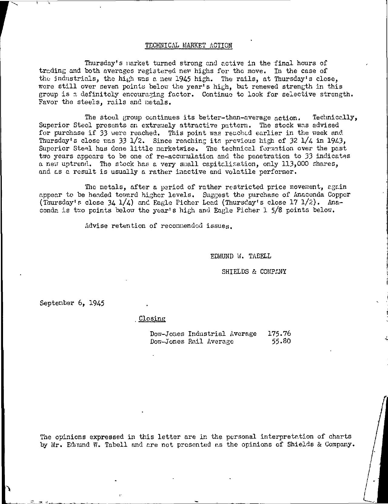 Tabell's Market Letter - September 06, 1945