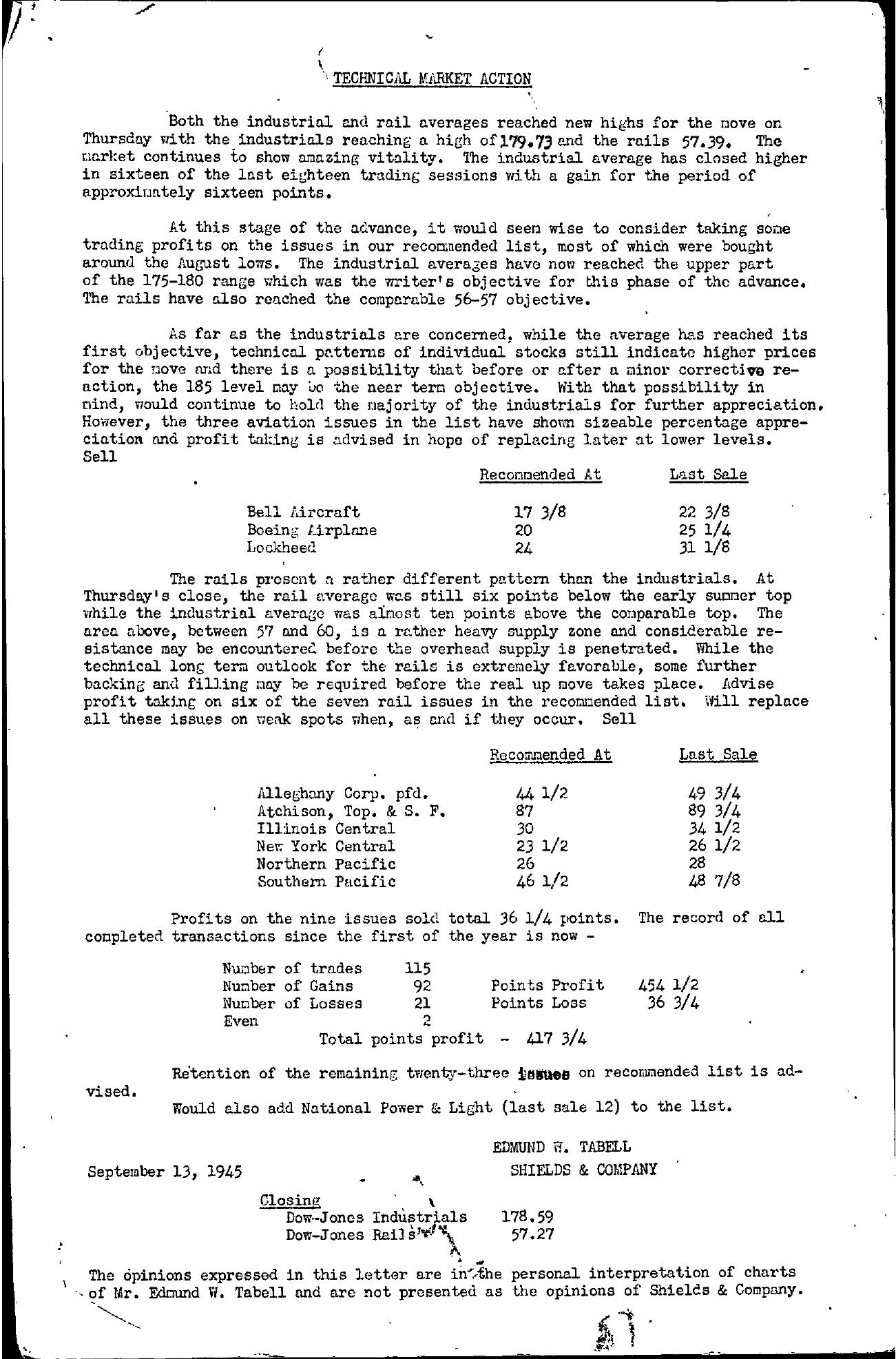Tabell's Market Letter - September 13, 1945