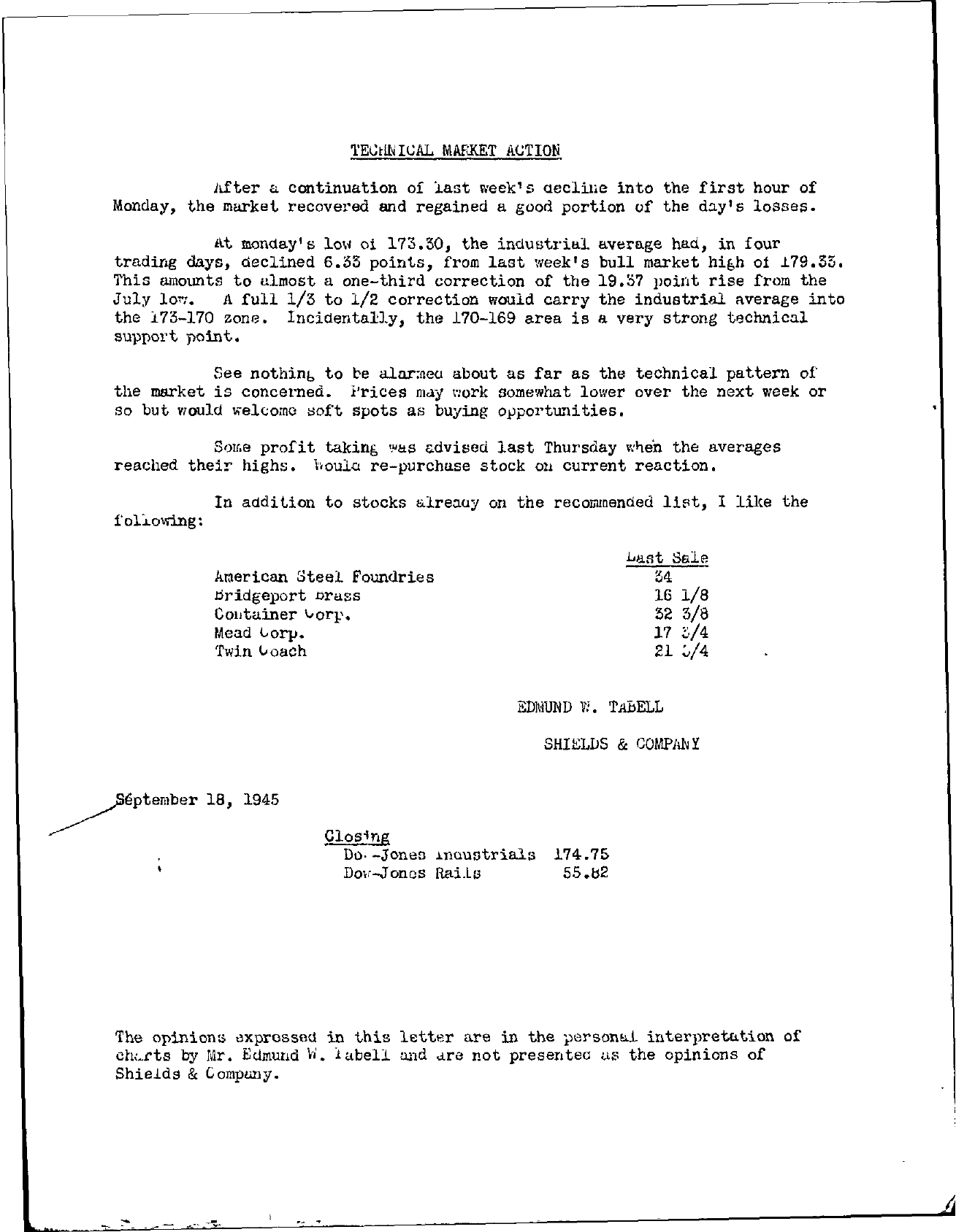 Tabell's Market Letter - September 18, 1945