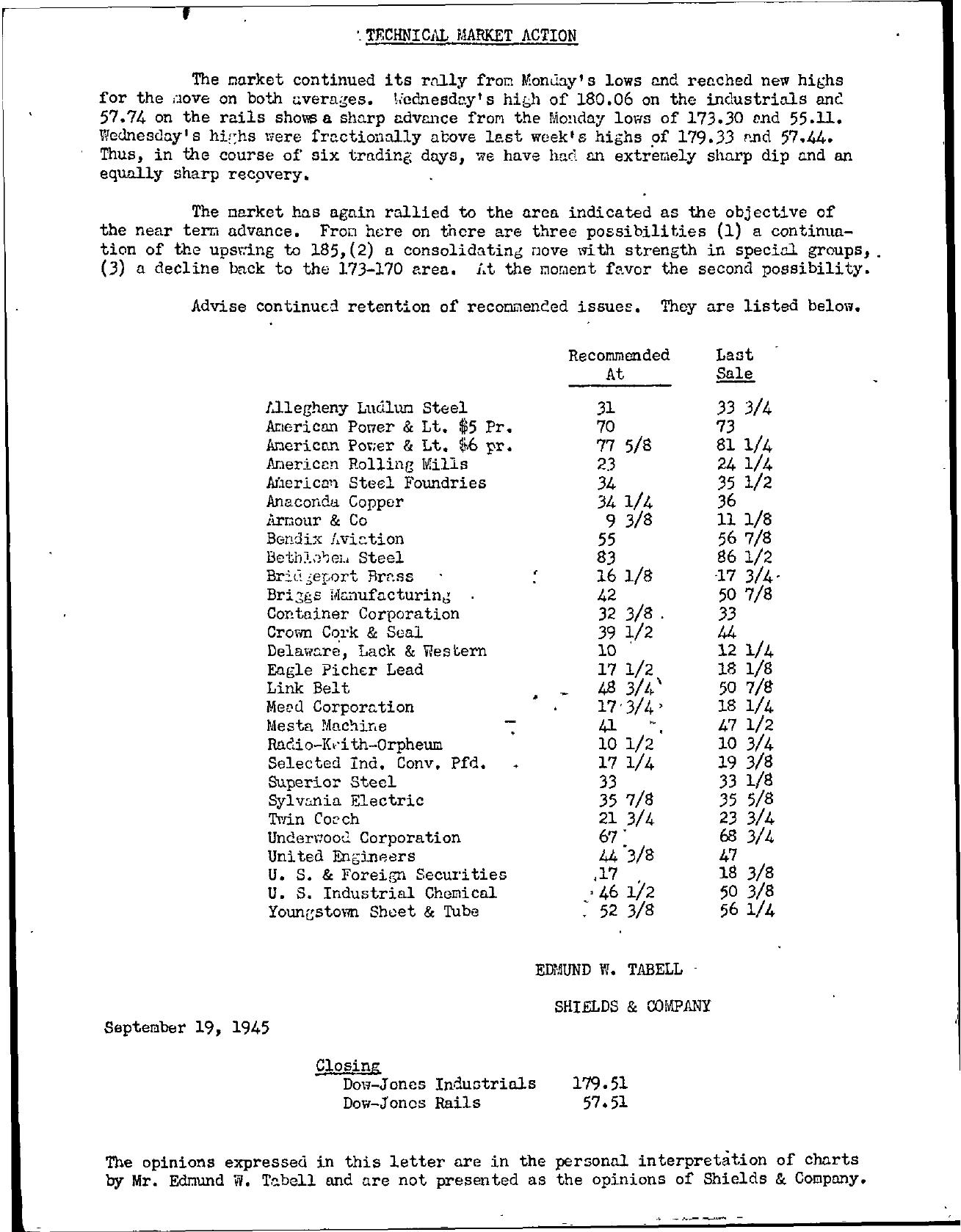 Tabell's Market Letter - September 19, 1945