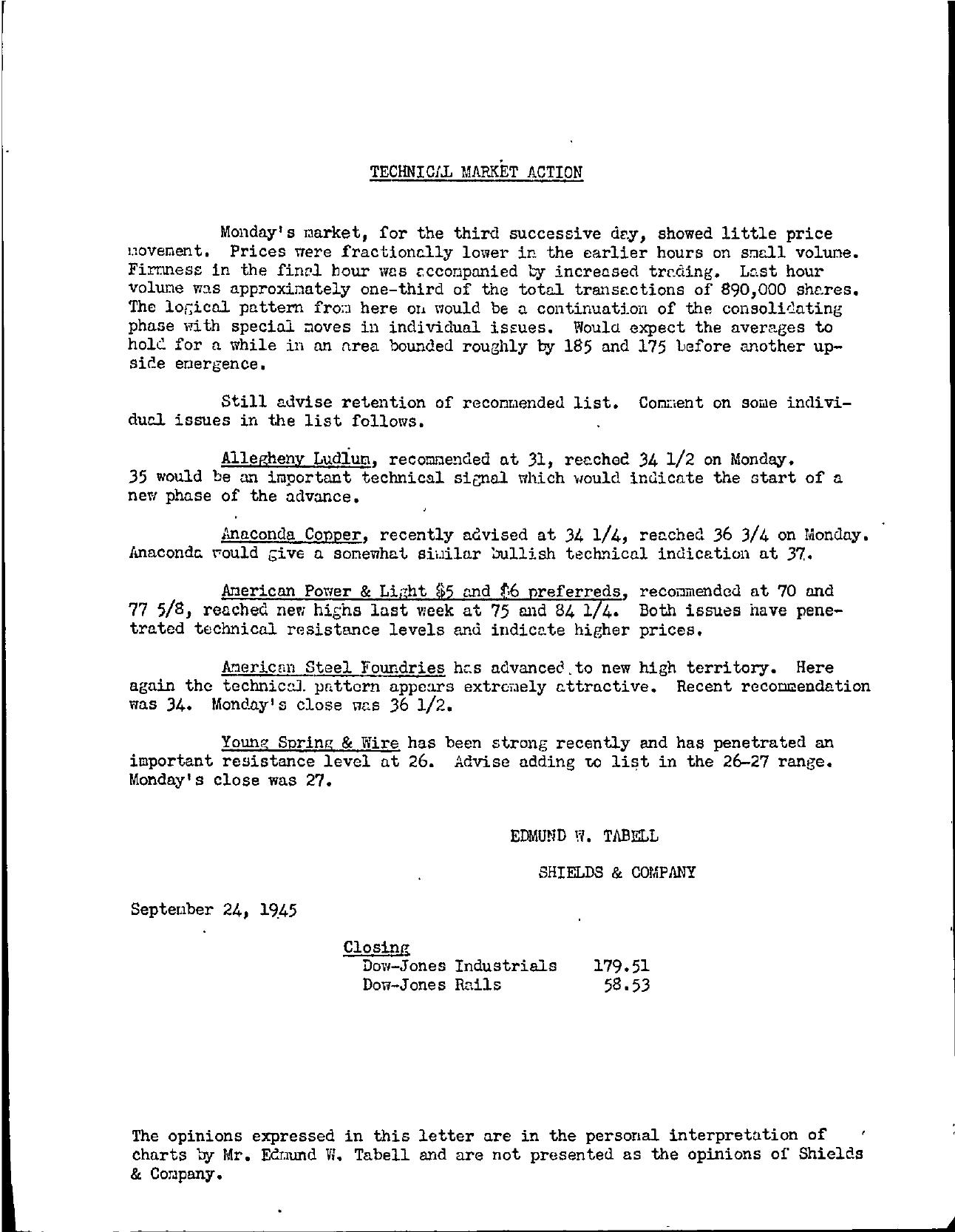 Tabell's Market Letter - September 24, 1945