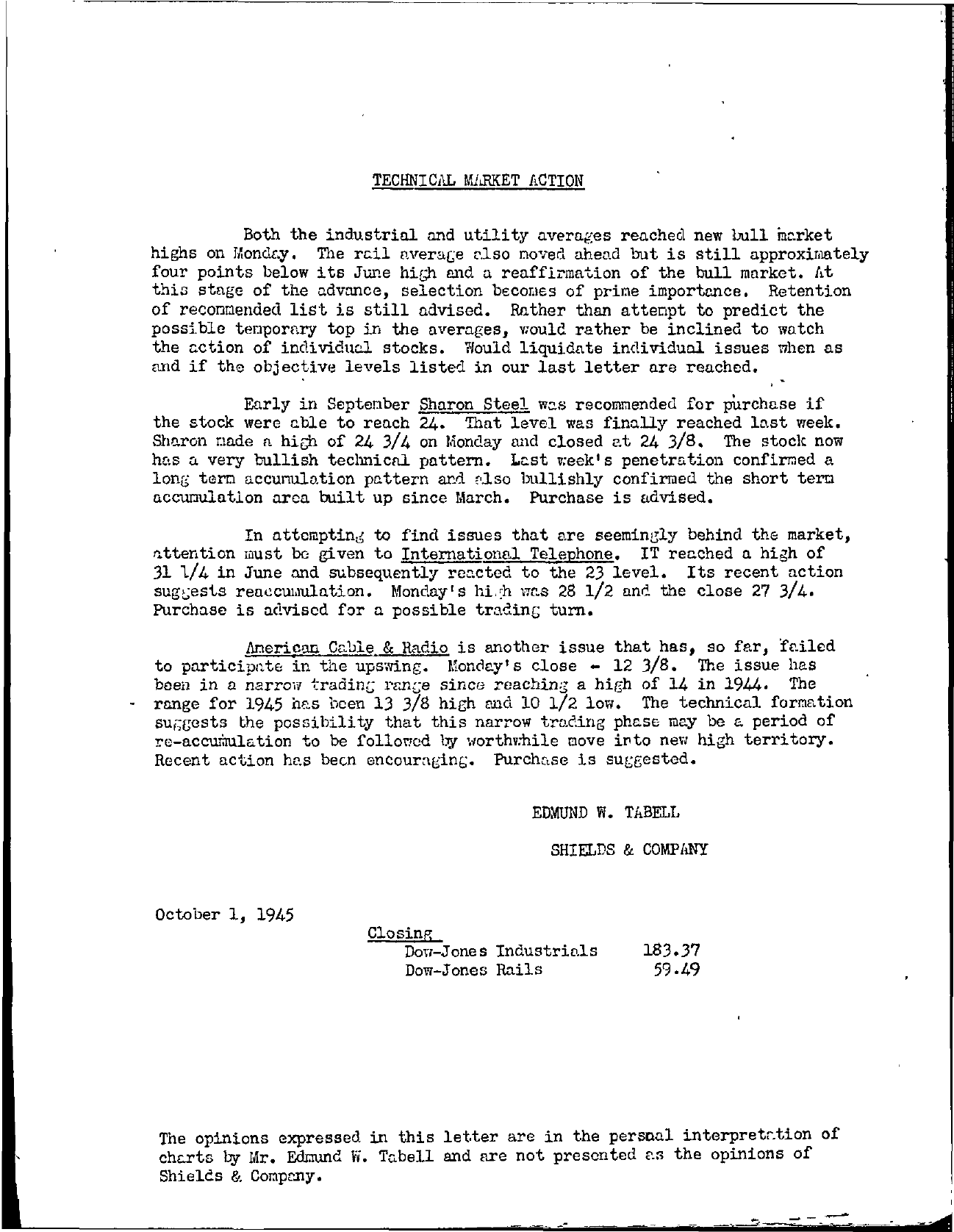 Tabell's Market Letter - October 01, 1945