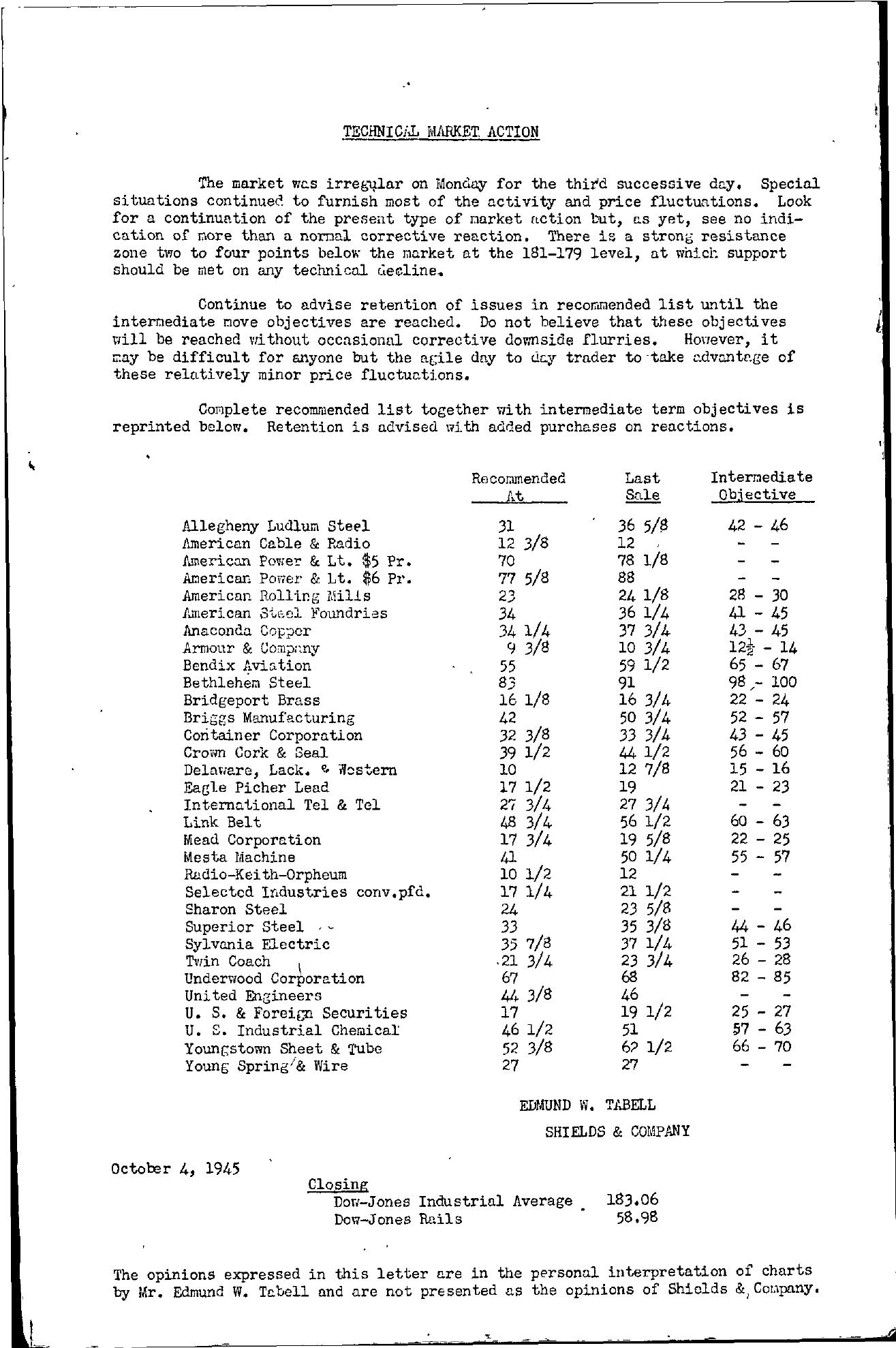 Tabell's Market Letter - October 04, 1945
