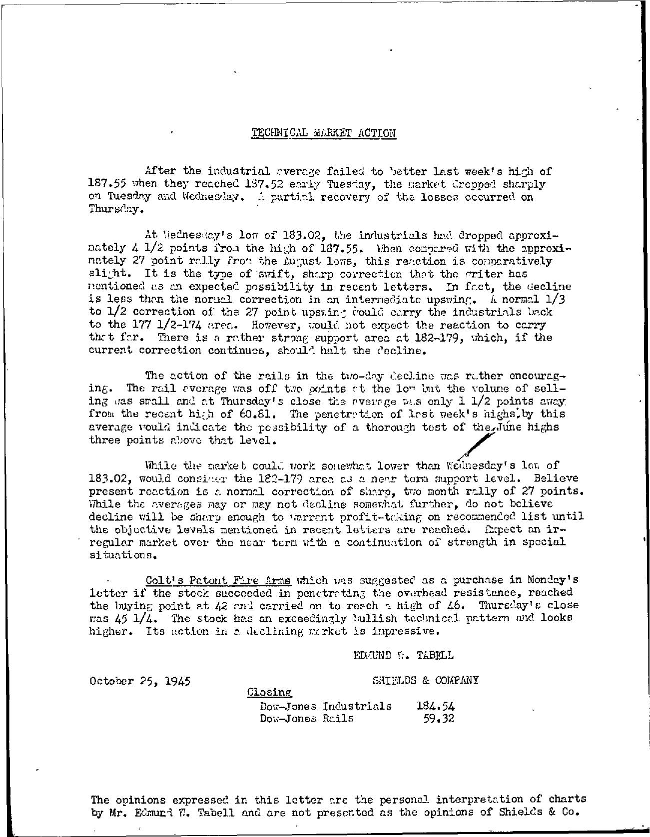 Tabell's Market Letter - October 25, 1945