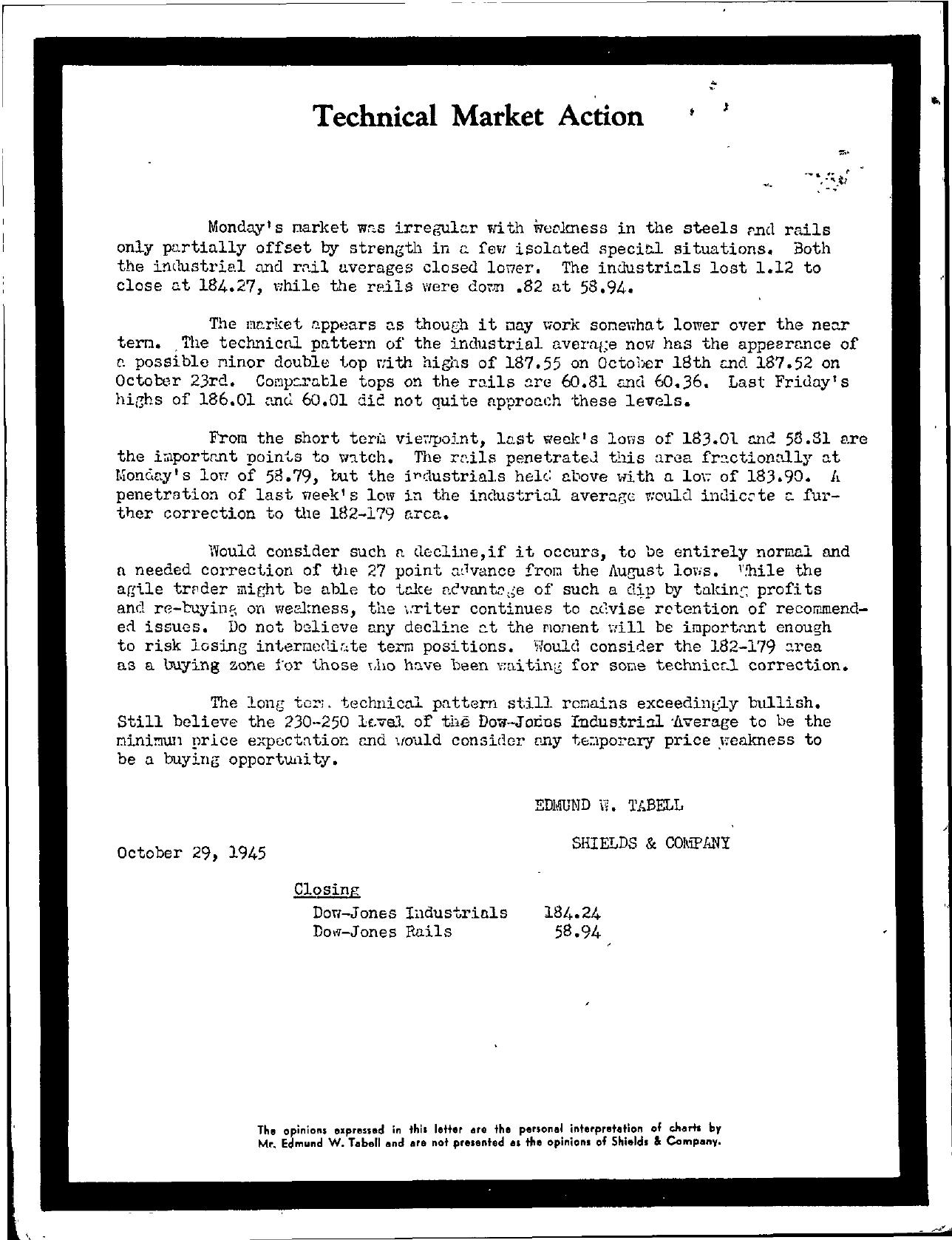 Tabell's Market Letter - October 29, 1945