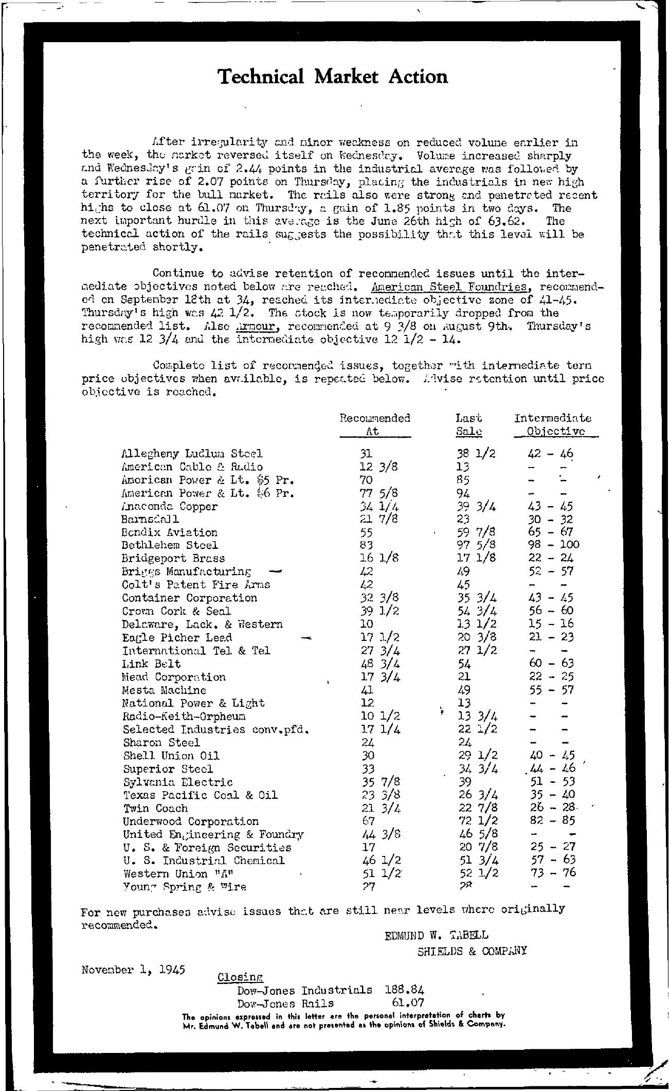 Tabell's Market Letter - November 01, 1945