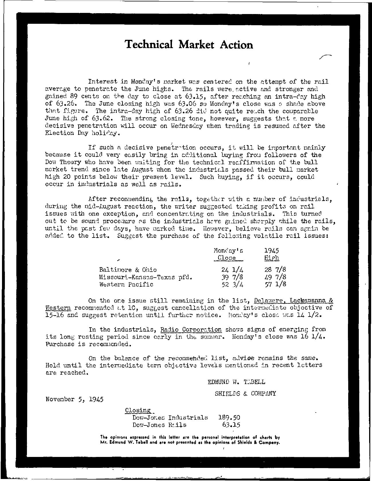 Tabell's Market Letter - November 05, 1945