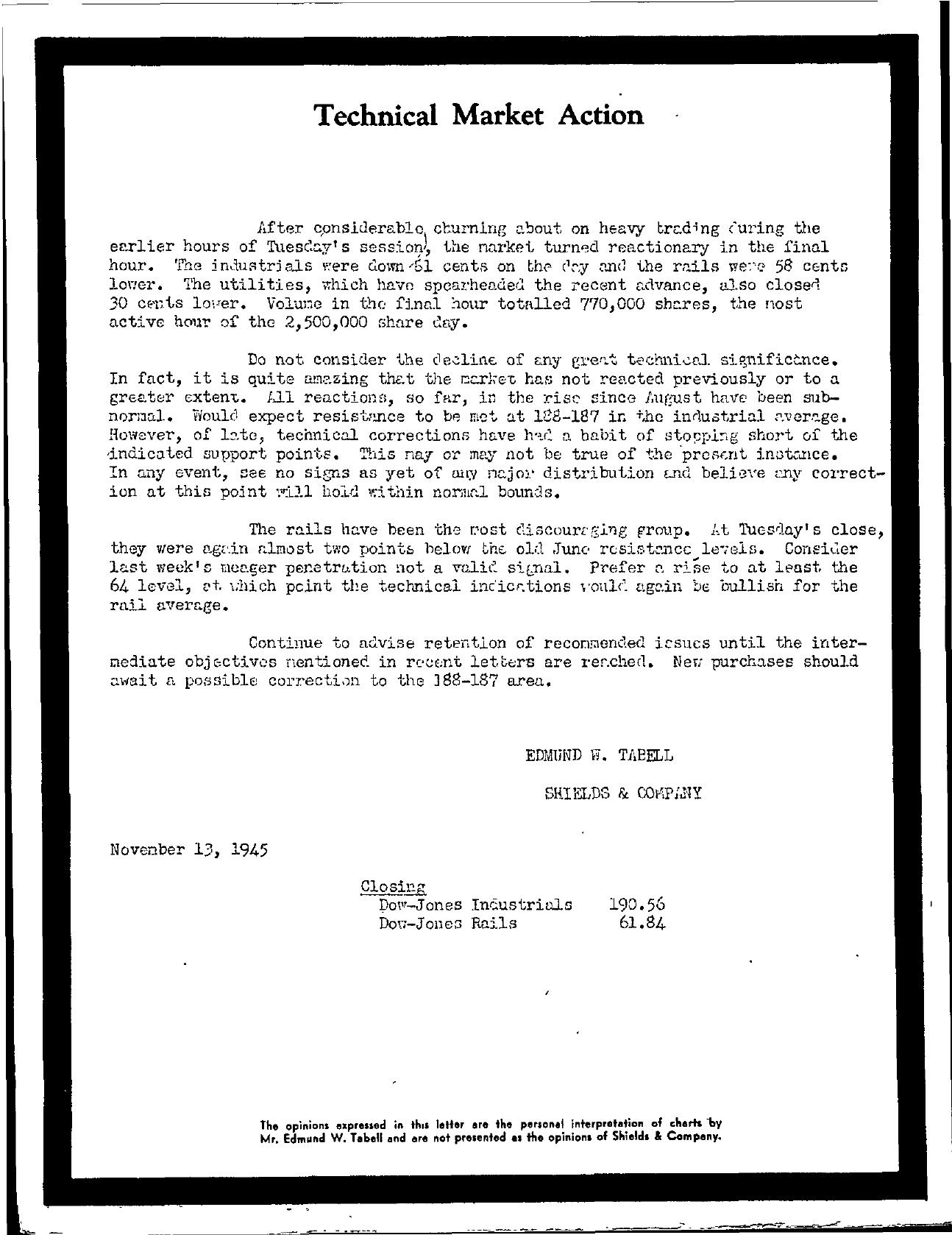 Tabell's Market Letter - November 13, 1945