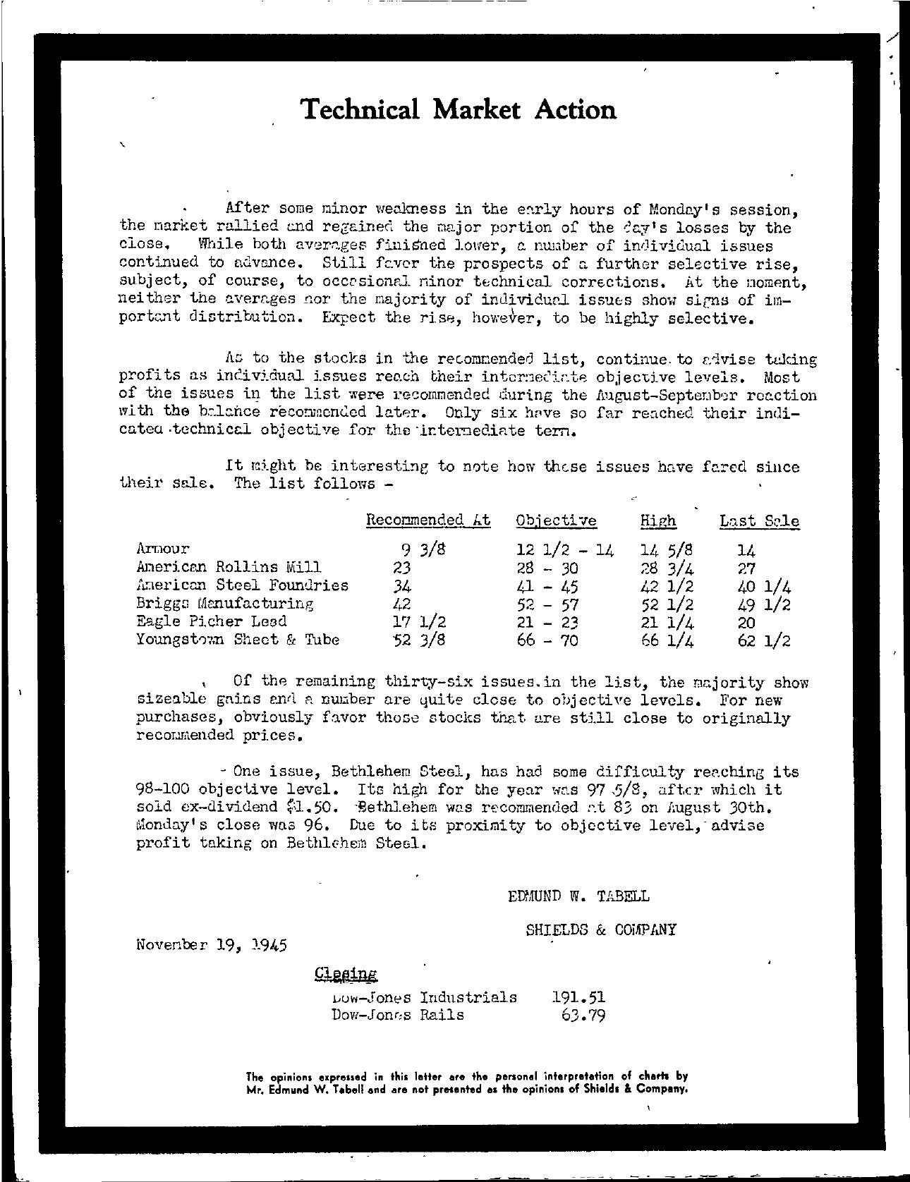 Tabell's Market Letter - November 19, 1945