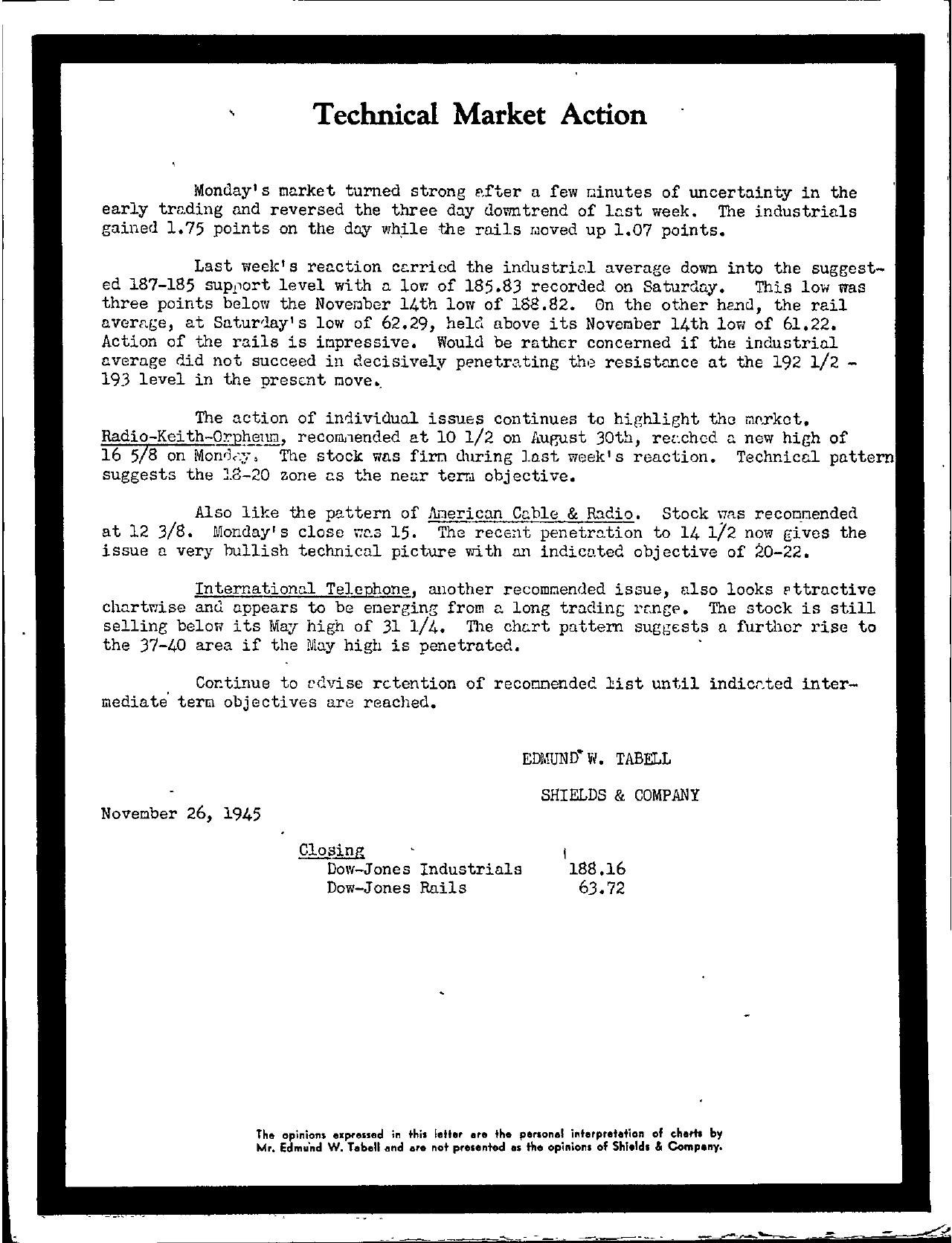 Tabell's Market Letter - November 26, 1945