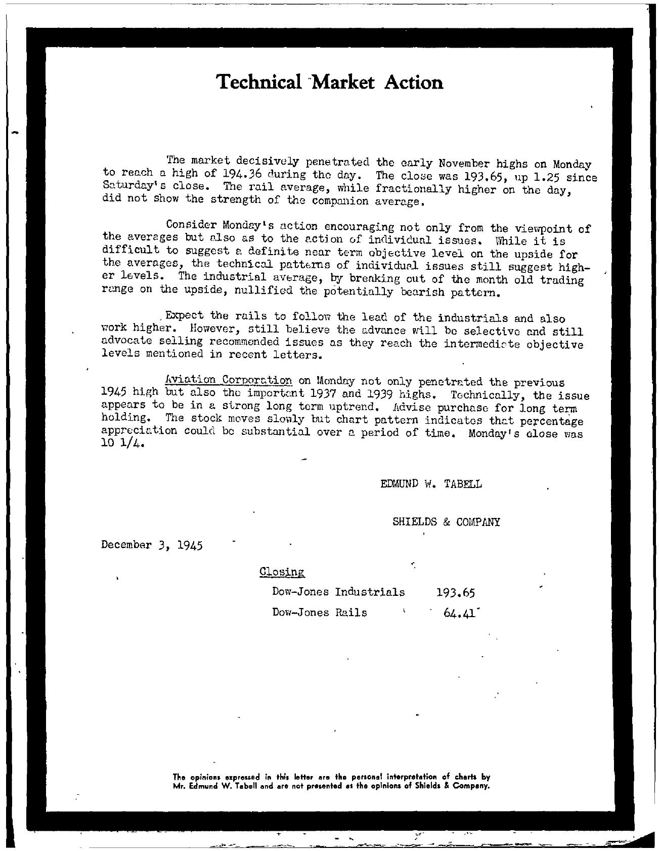 Tabell's Market Letter - December 03, 1945