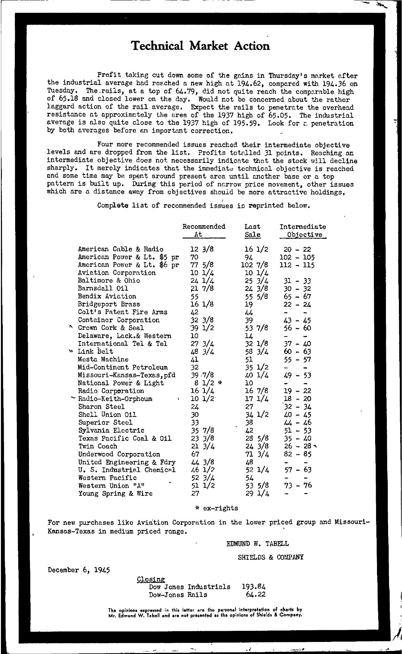 Tabell's Market Letter - December 06, 1945