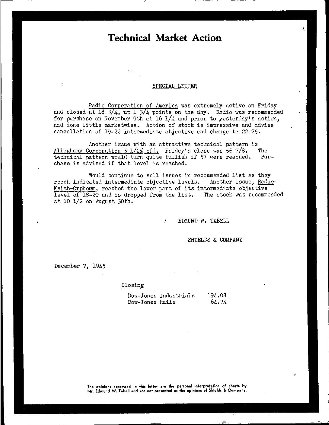 Tabell's Market Letter - December 07, 1945