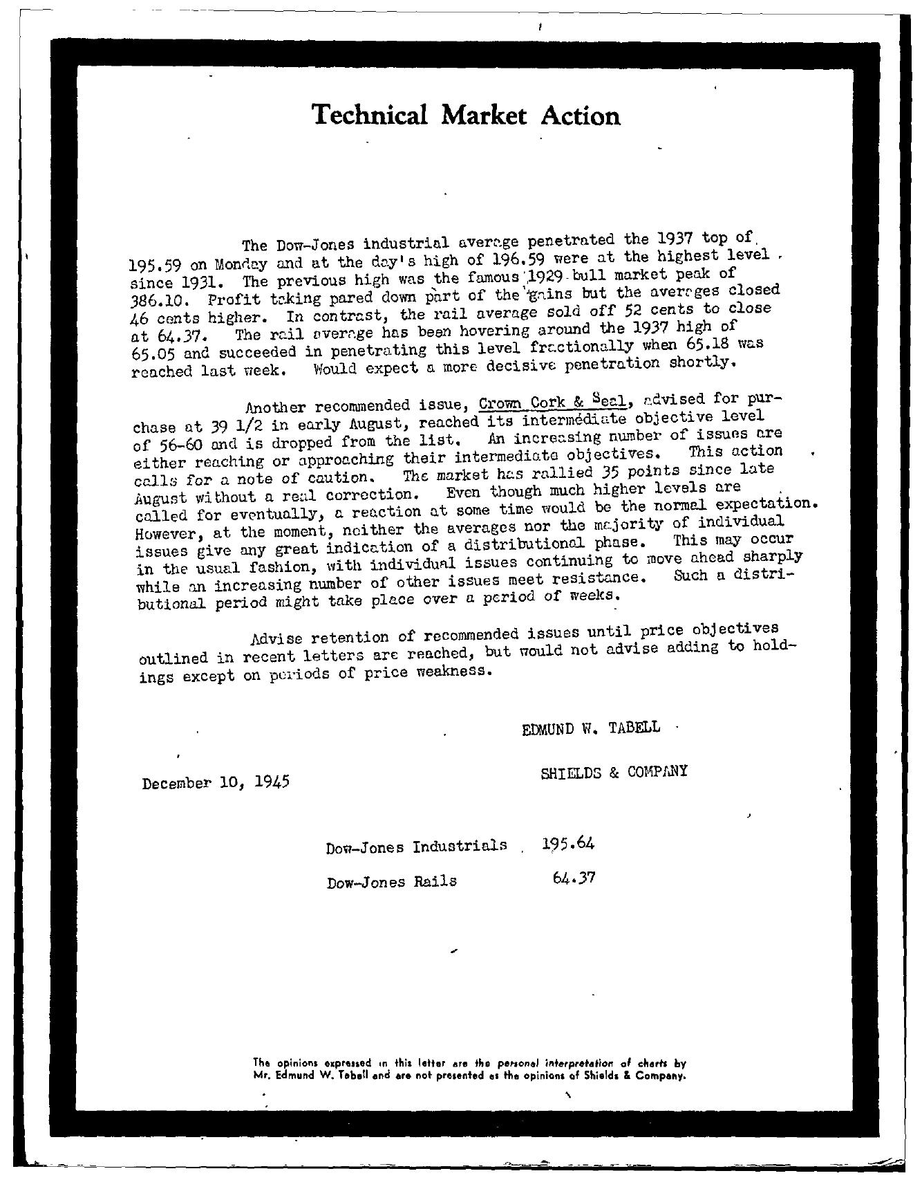 Tabell's Market Letter - December 10, 1945