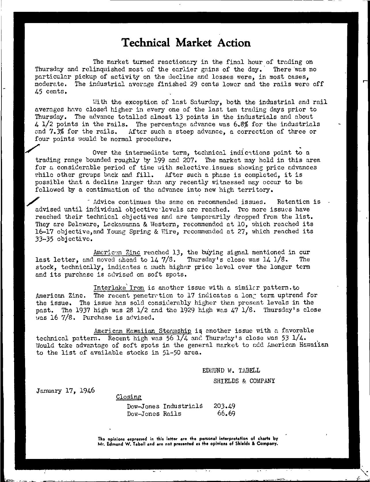 Tabell's Market Letter - January 17, 1946