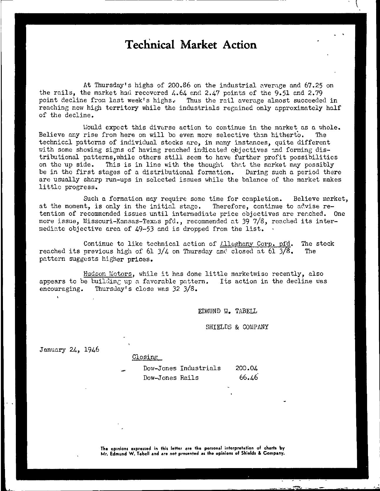 Tabell's Market Letter - January 24, 1946