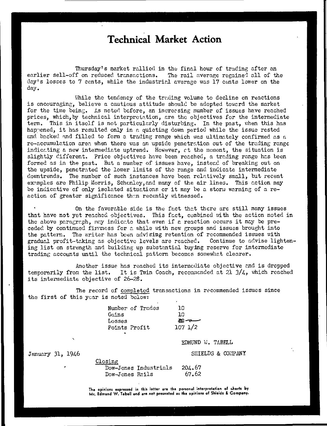 Tabell's Market Letter - January 31, 1946