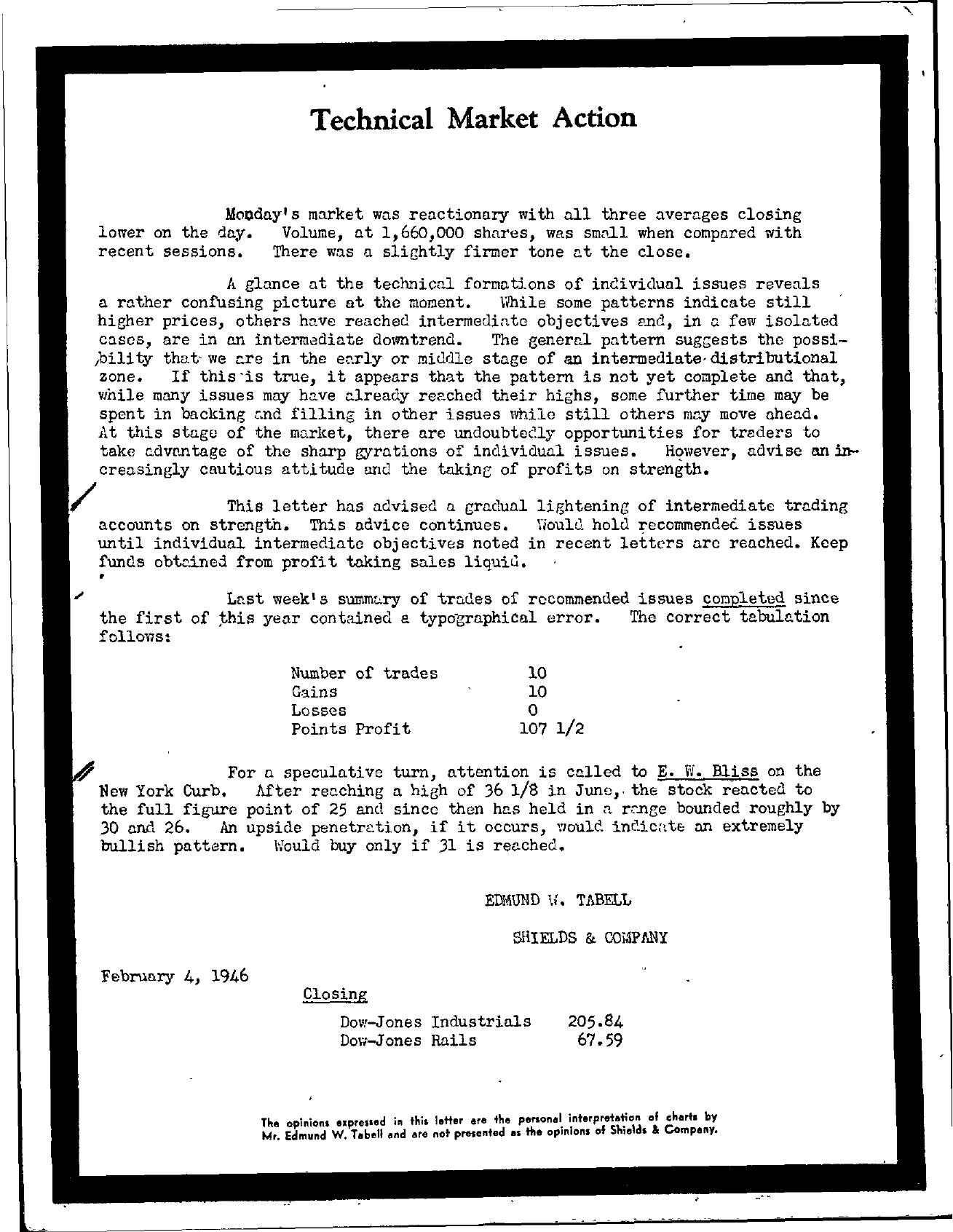 Tabell's Market Letter - February 04, 1946