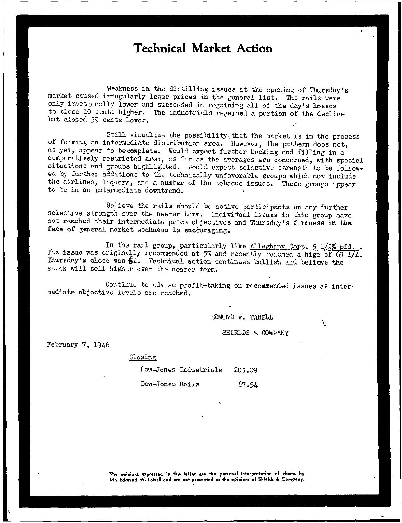 Tabell's Market Letter - February 07, 1946