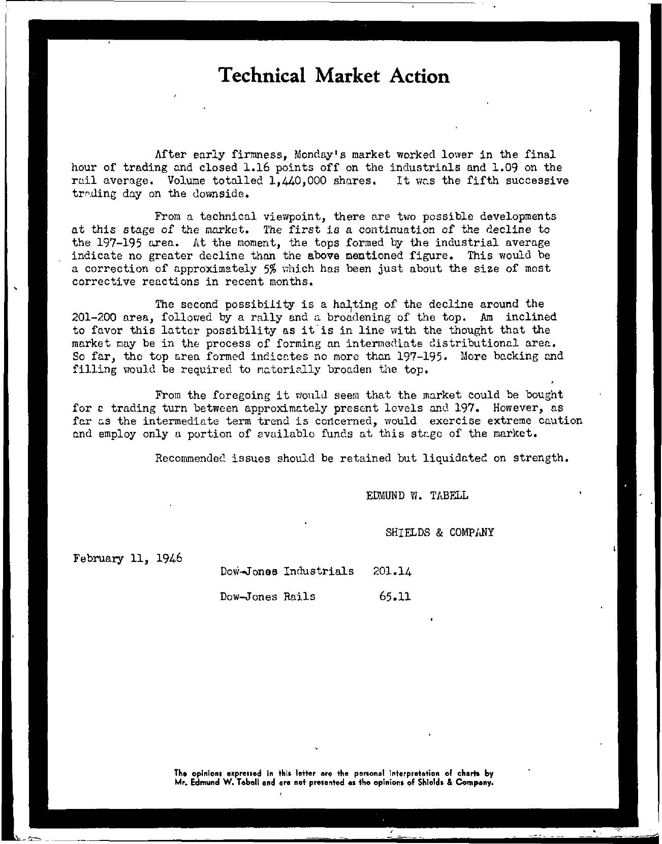 Tabell's Market Letter - February 11, 1946