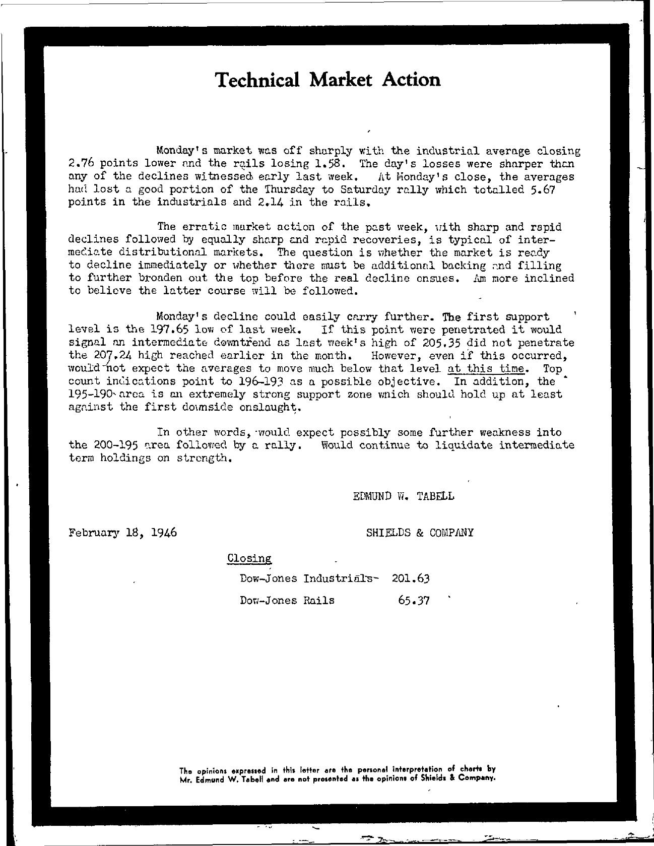 Tabell's Market Letter - February 18, 1946