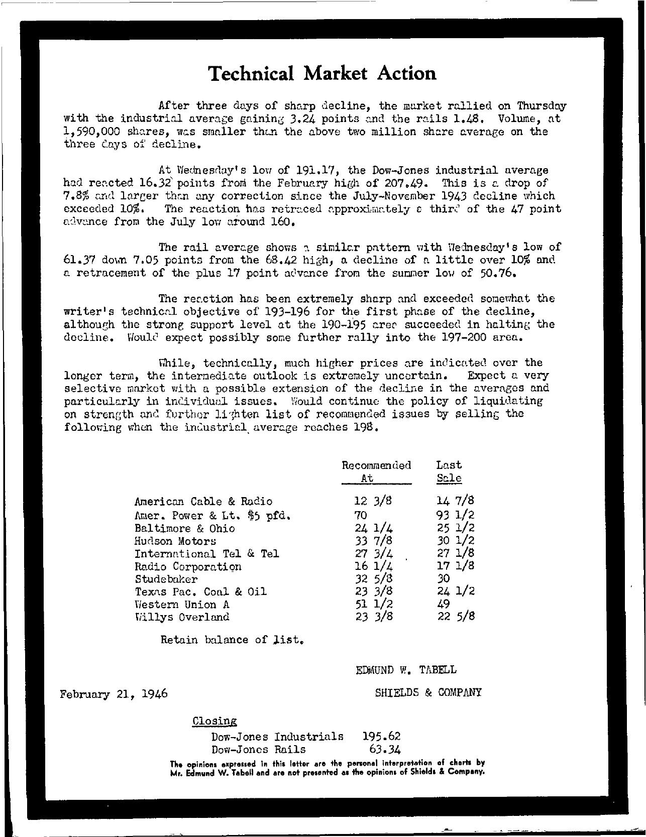 Tabell's Market Letter - February 21, 1946