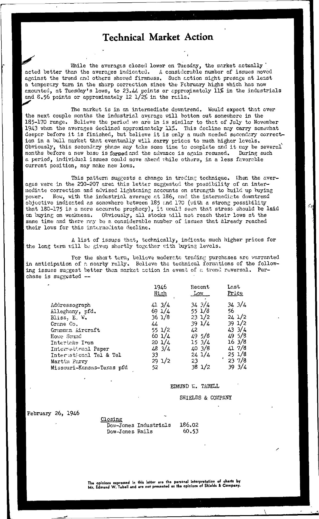 Tabell's Market Letter - February 26, 1946
